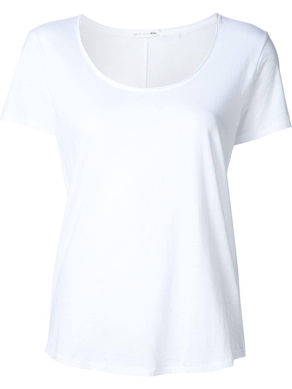 Rag bone slack shortsleeved t shirt in white save 29 for Rag and bone white t shirt
