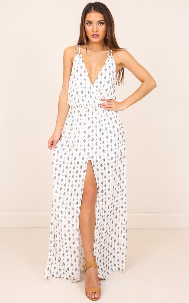 Showpo Maybe Its Me Maxi Dress In White Print in White