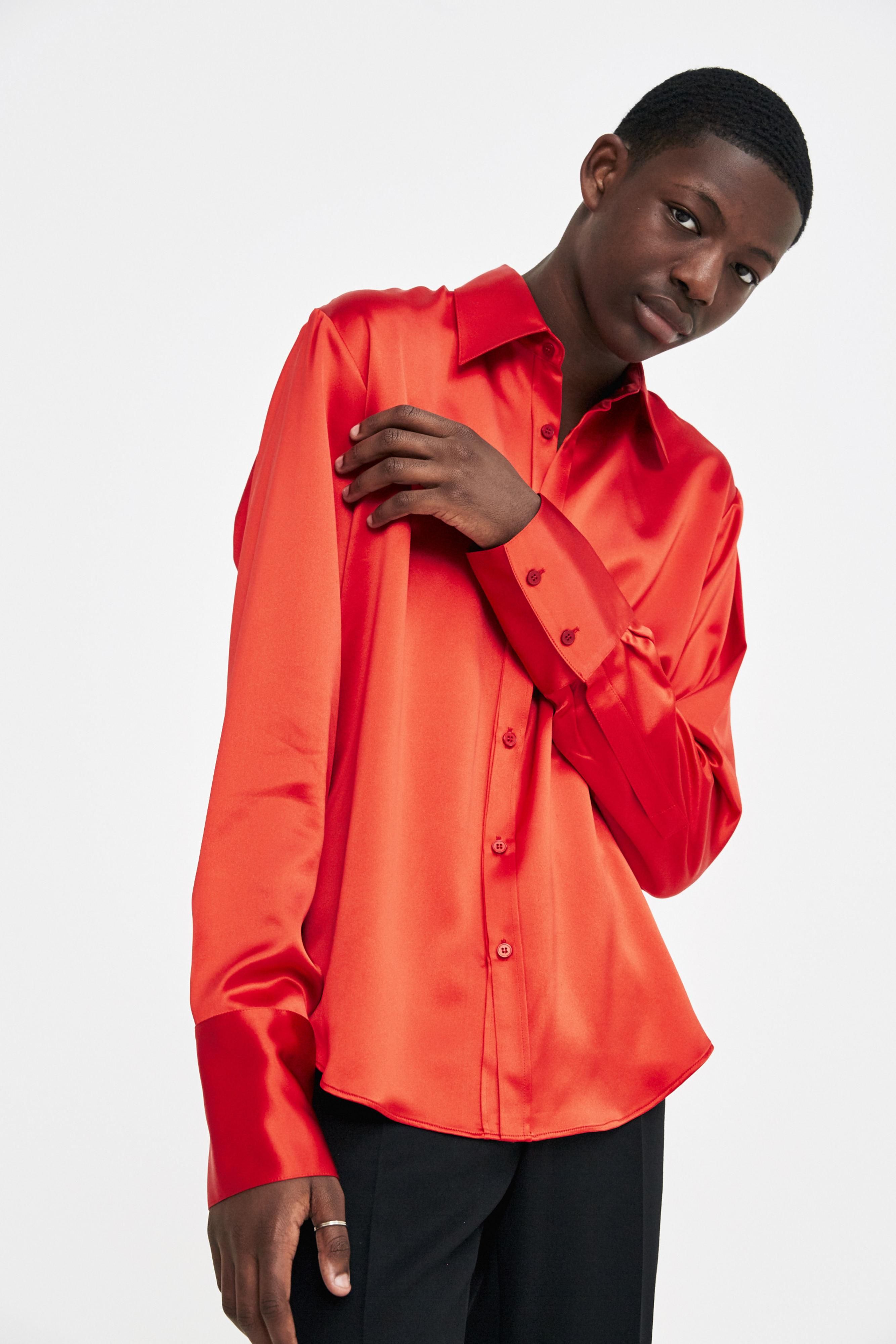 Unique Lyst - Martine Rose Red Silk Shirt in Red for Men EO71