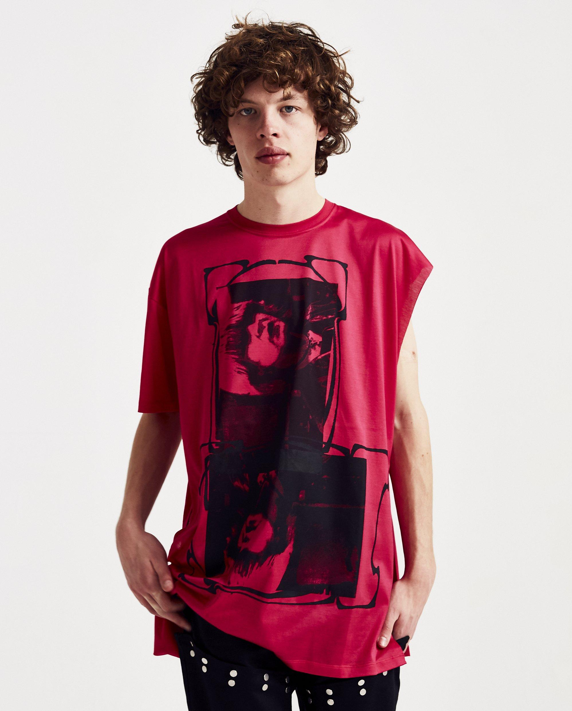 e4ba7a15 Raf Simons T-shirt With Open Side in Red for Men - Lyst
