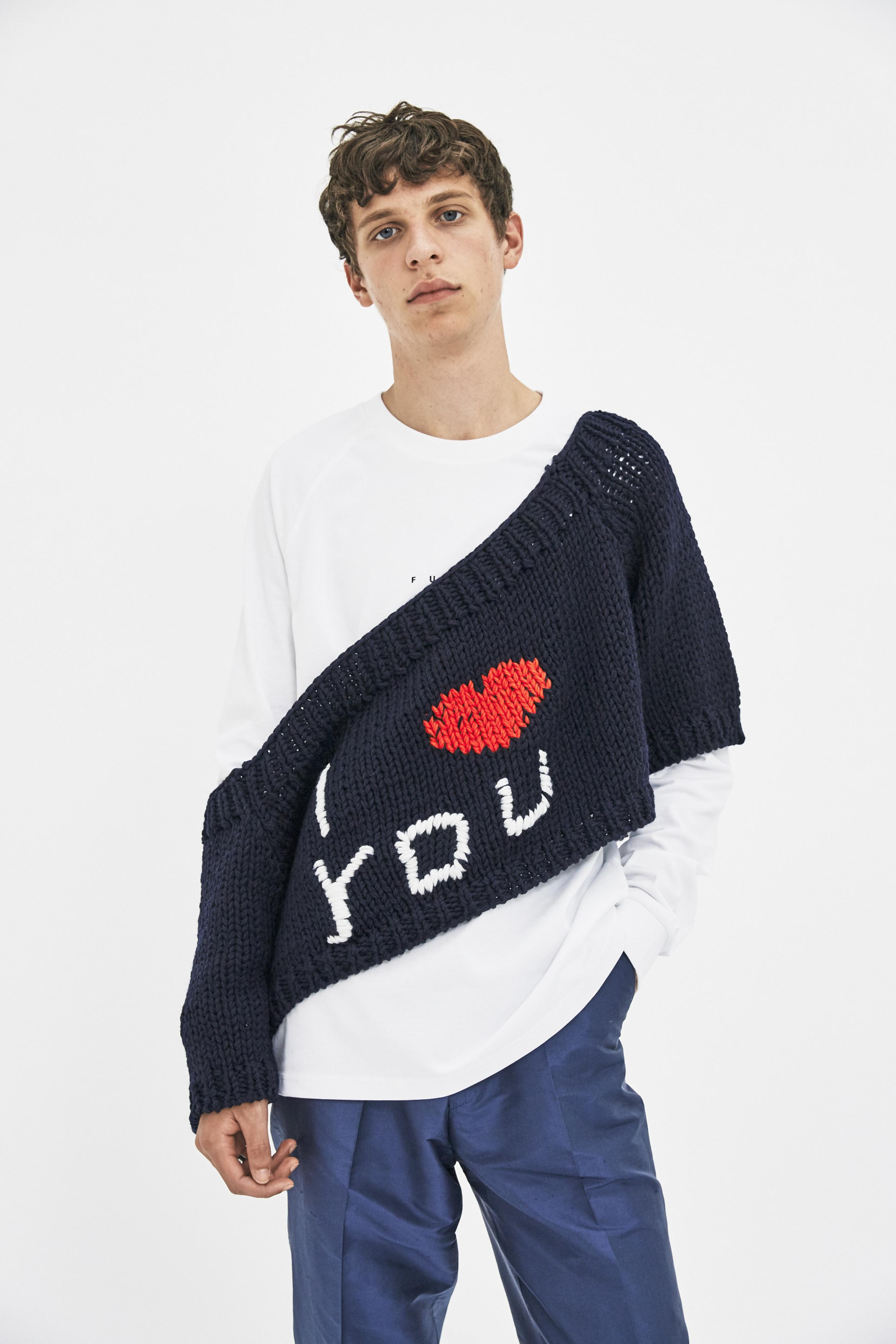 9114c164e015e Raf Simons Blow Up 'i Love You' Sweater in Blue for Men - Lyst