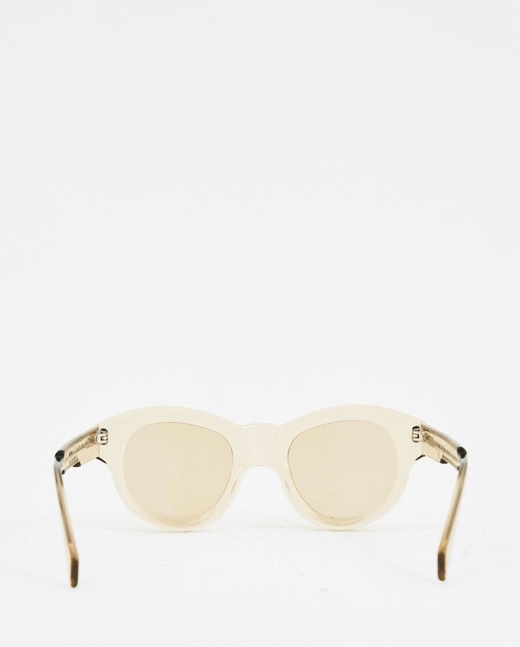 Kuboraum Leather 'l2' Round Sunglasses in Sand (Natural)