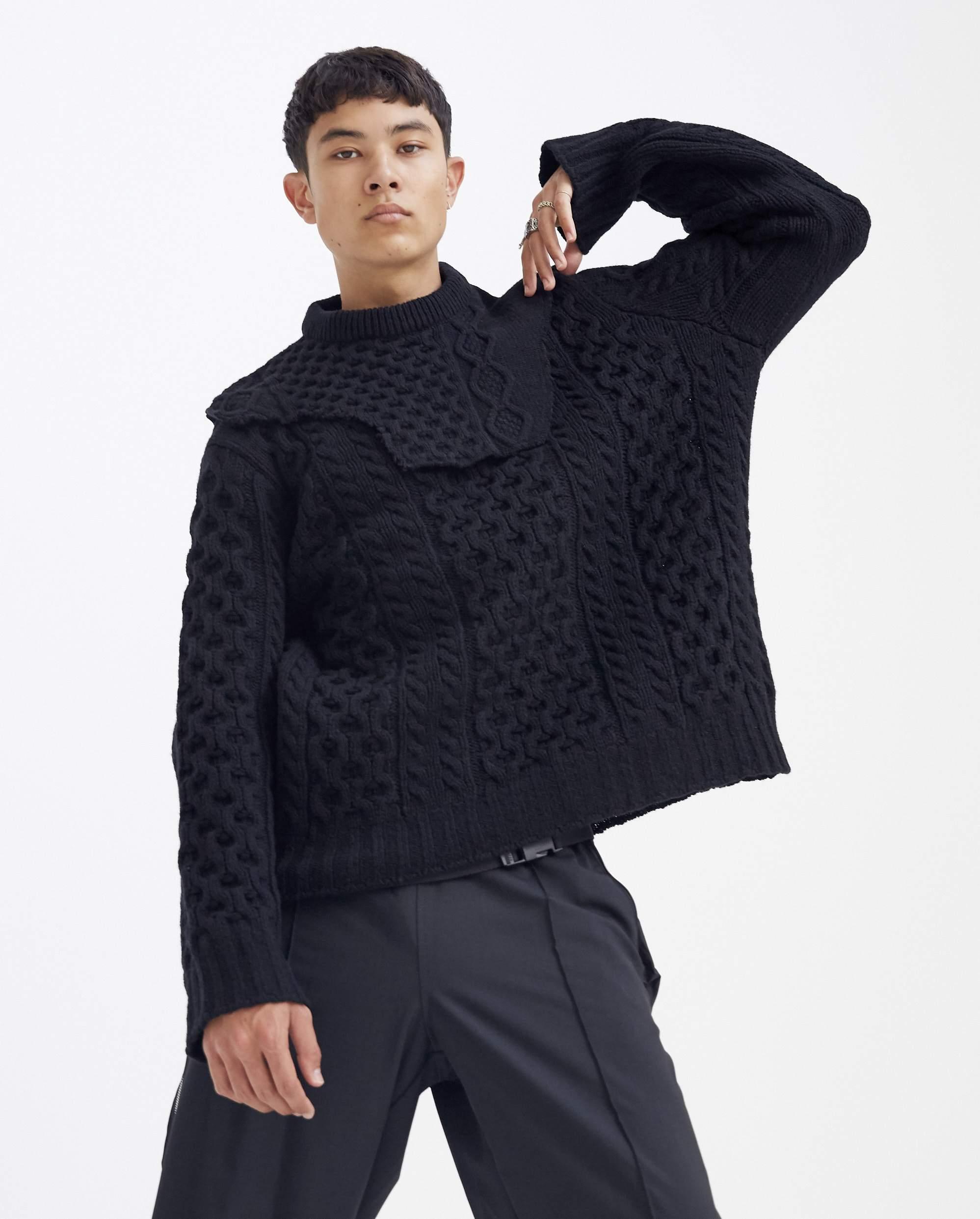 Raf Simons Wool Aran Knit Sweater With Detachable Neck ...