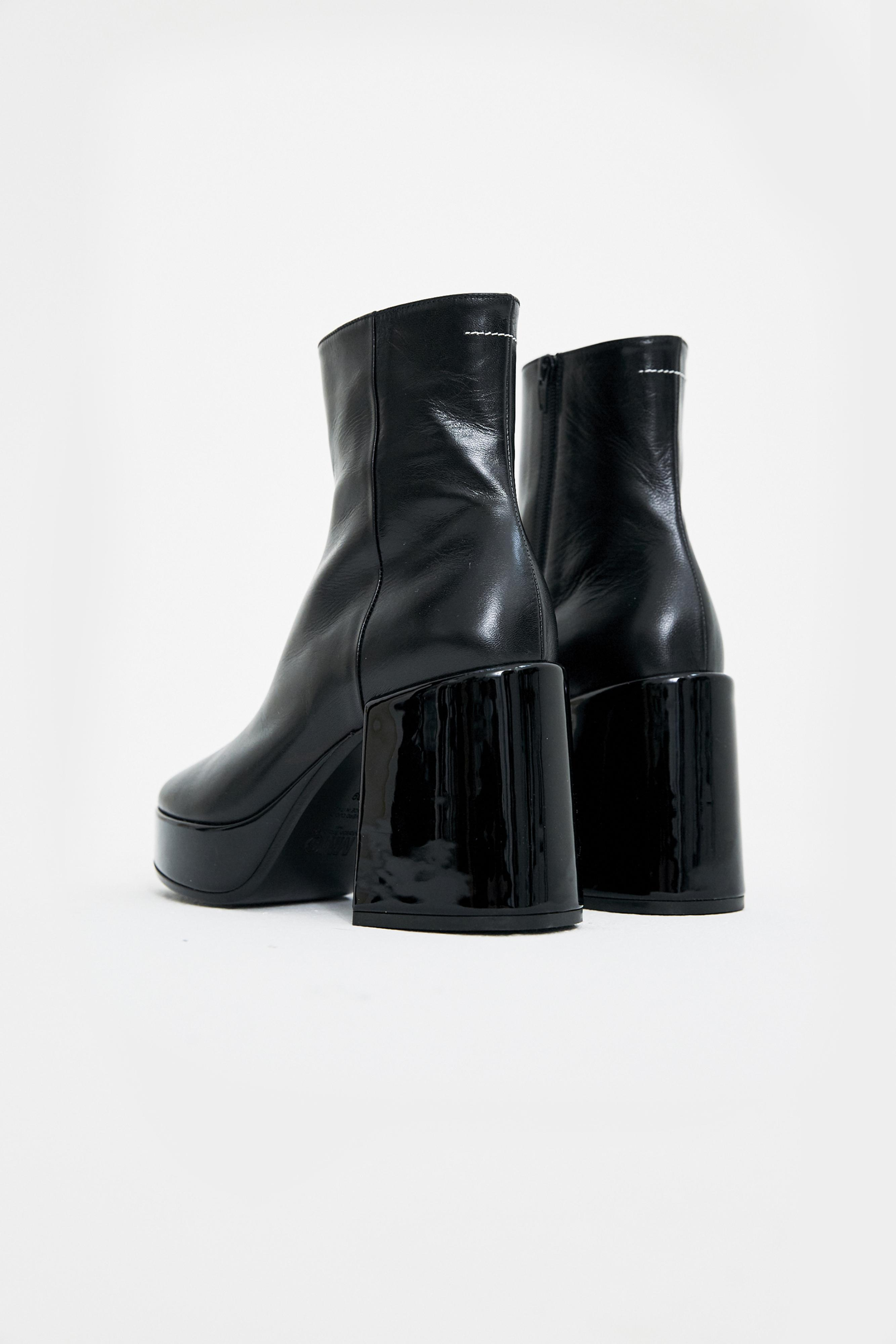 MM6 by Maison Martin Margiela Leather Black Platform Boots