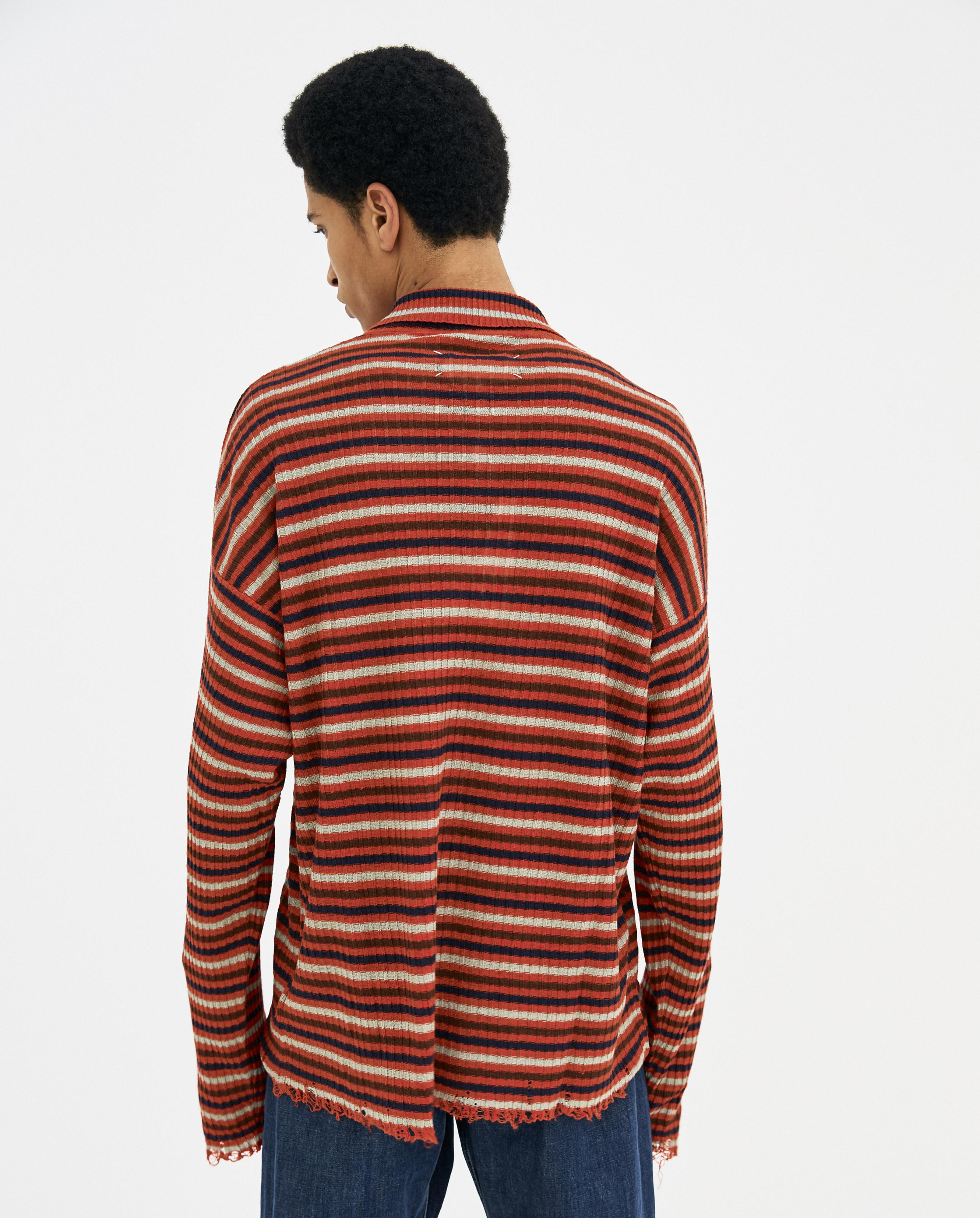 Maison Margiela Linen Red Long Sleeve Striped Distressed Polo for Men