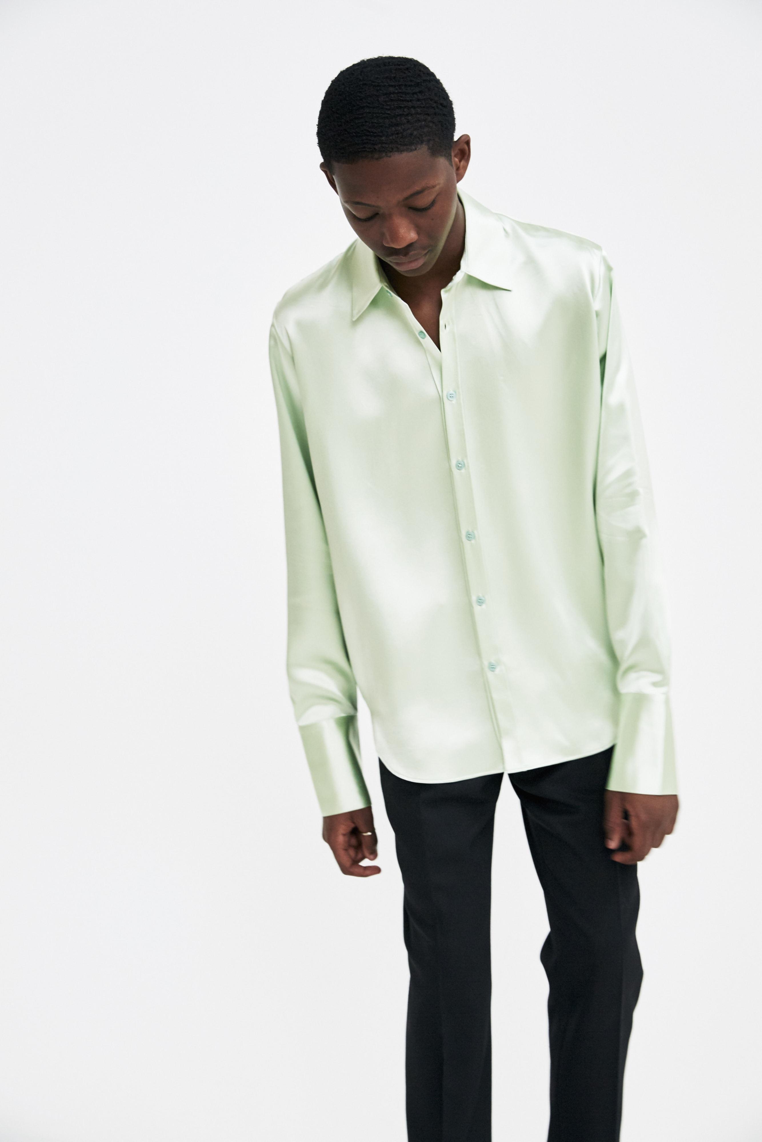 39647d544b3c5f Lyst - Martine Rose Green Silk Shirt in Green for Men