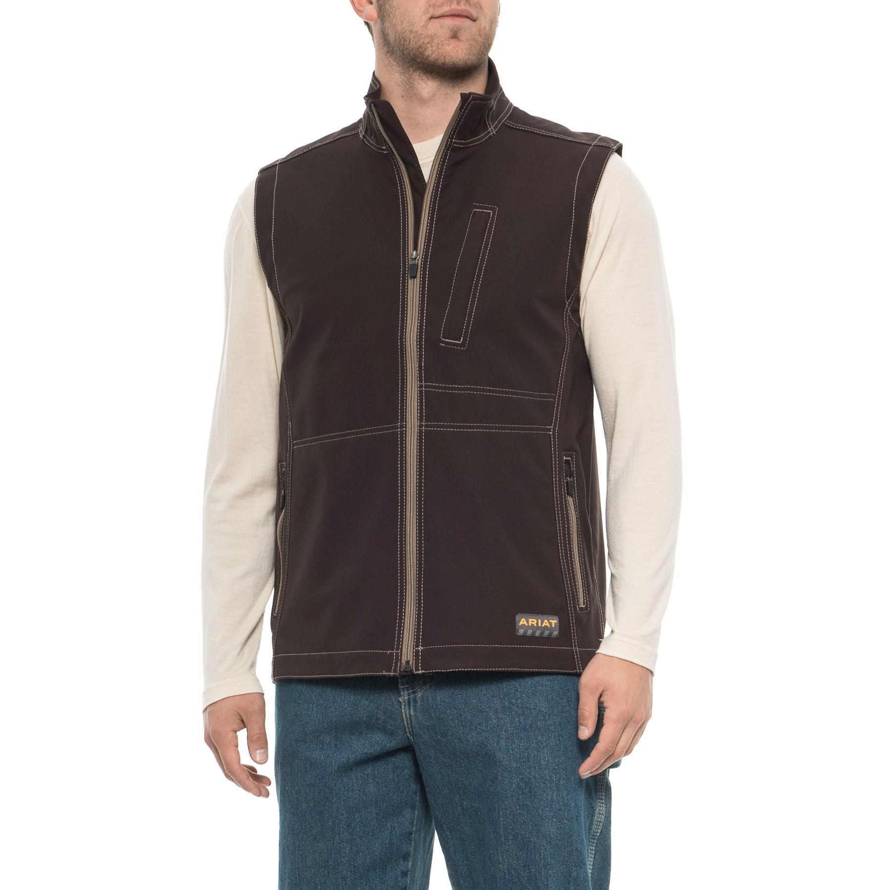 35198cafab09 Lyst - Ariat Big Tall Rebar Stretch Canvas Softshell Vest (black ...