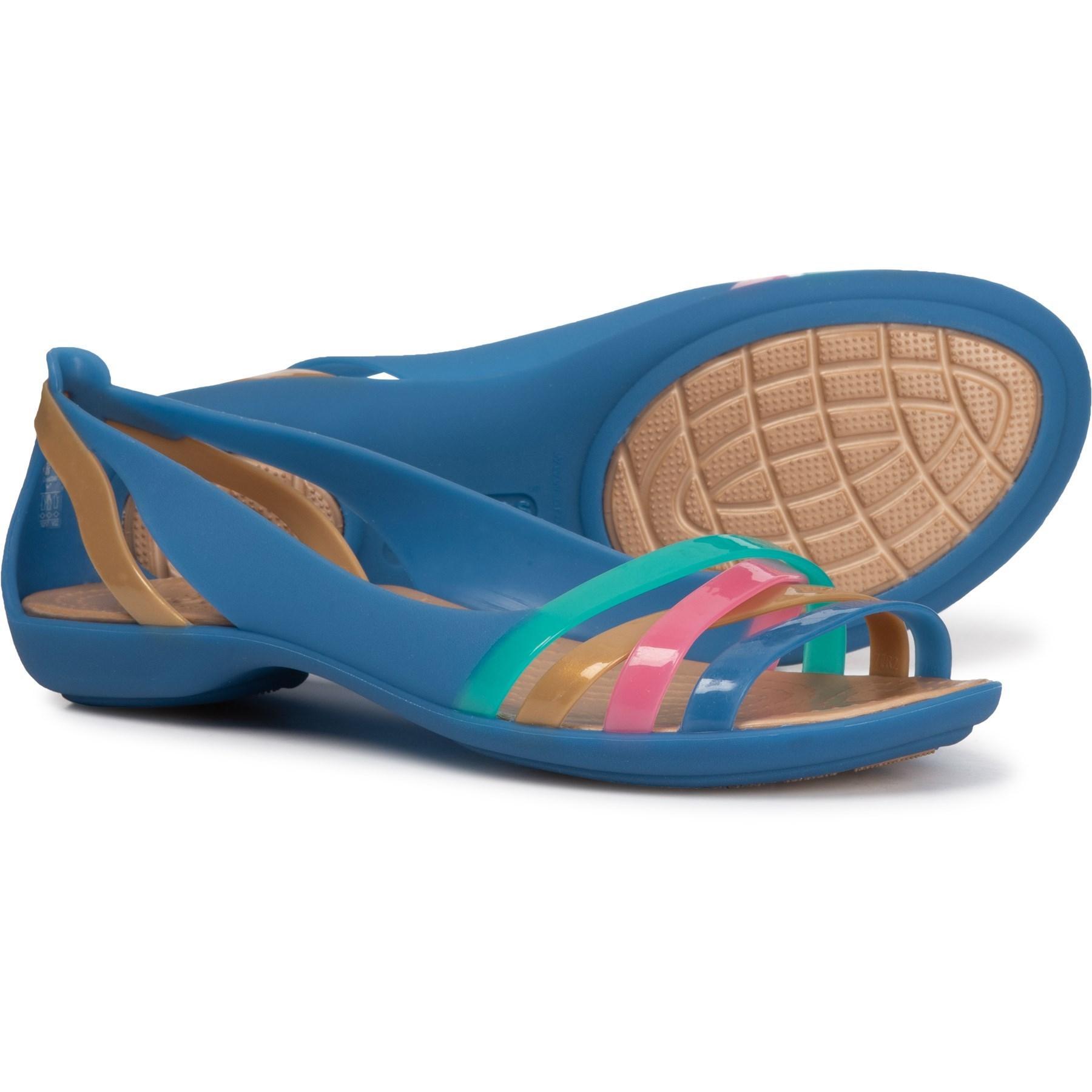 finest selection 08a59 25560 Crocs™ Isabella Huarache 2 Flat (blue Jean/gold) Flat Shoes