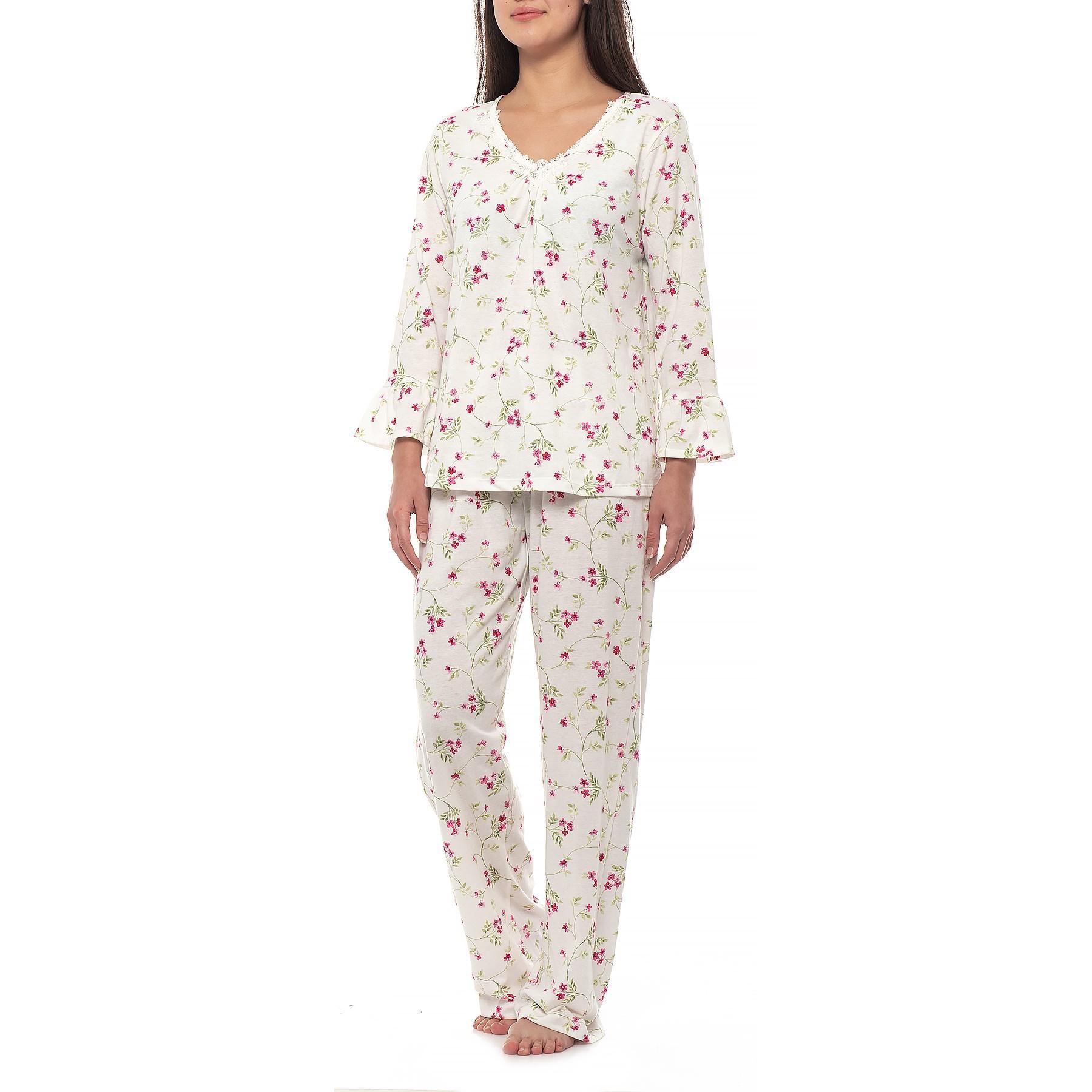 f3bf4e7c5e Lyst - Carole Hochman Brushed Jersey Pajamas in White