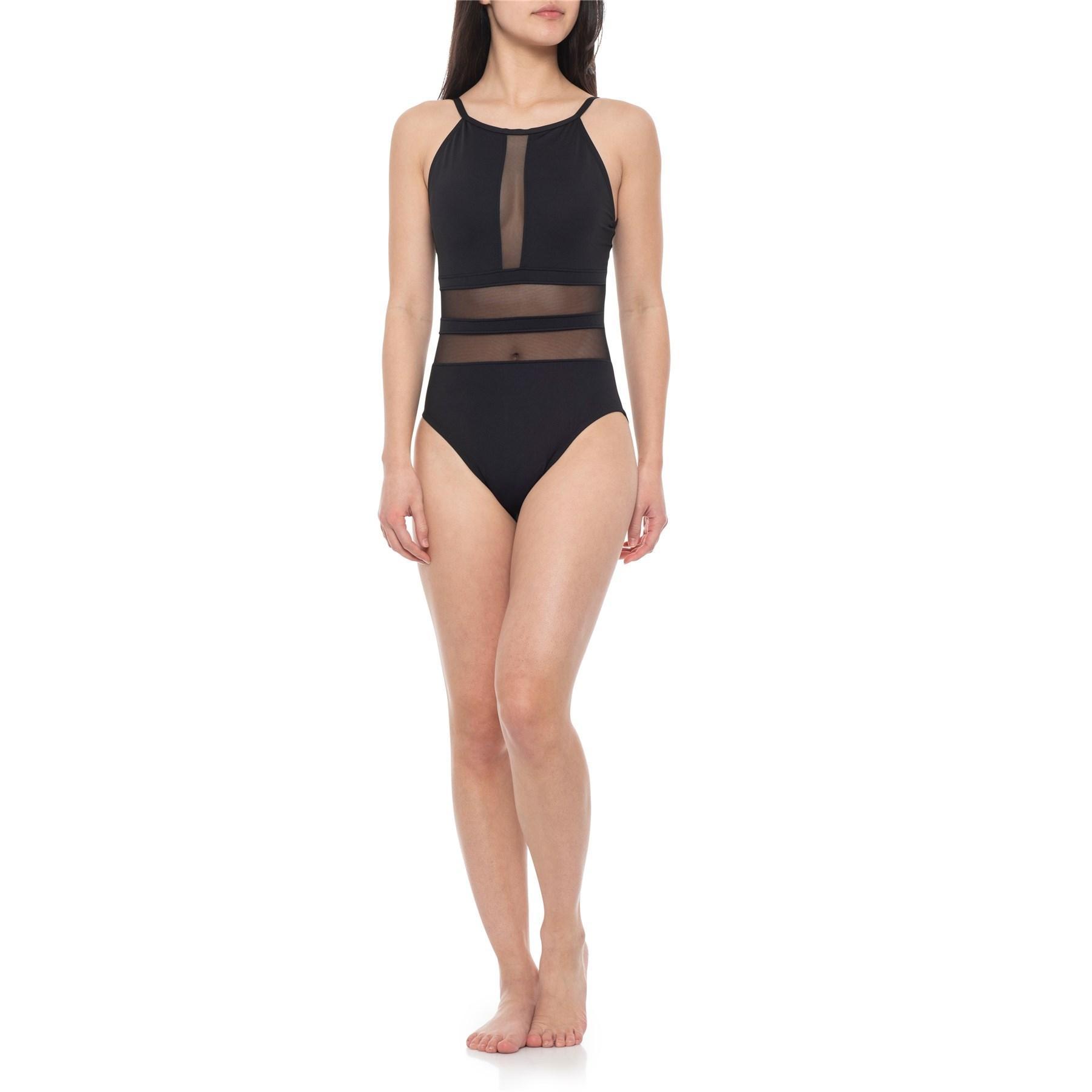 9d47896db Lyst - La Blanca Mesh High-neck One-piece Swimsuit in Black