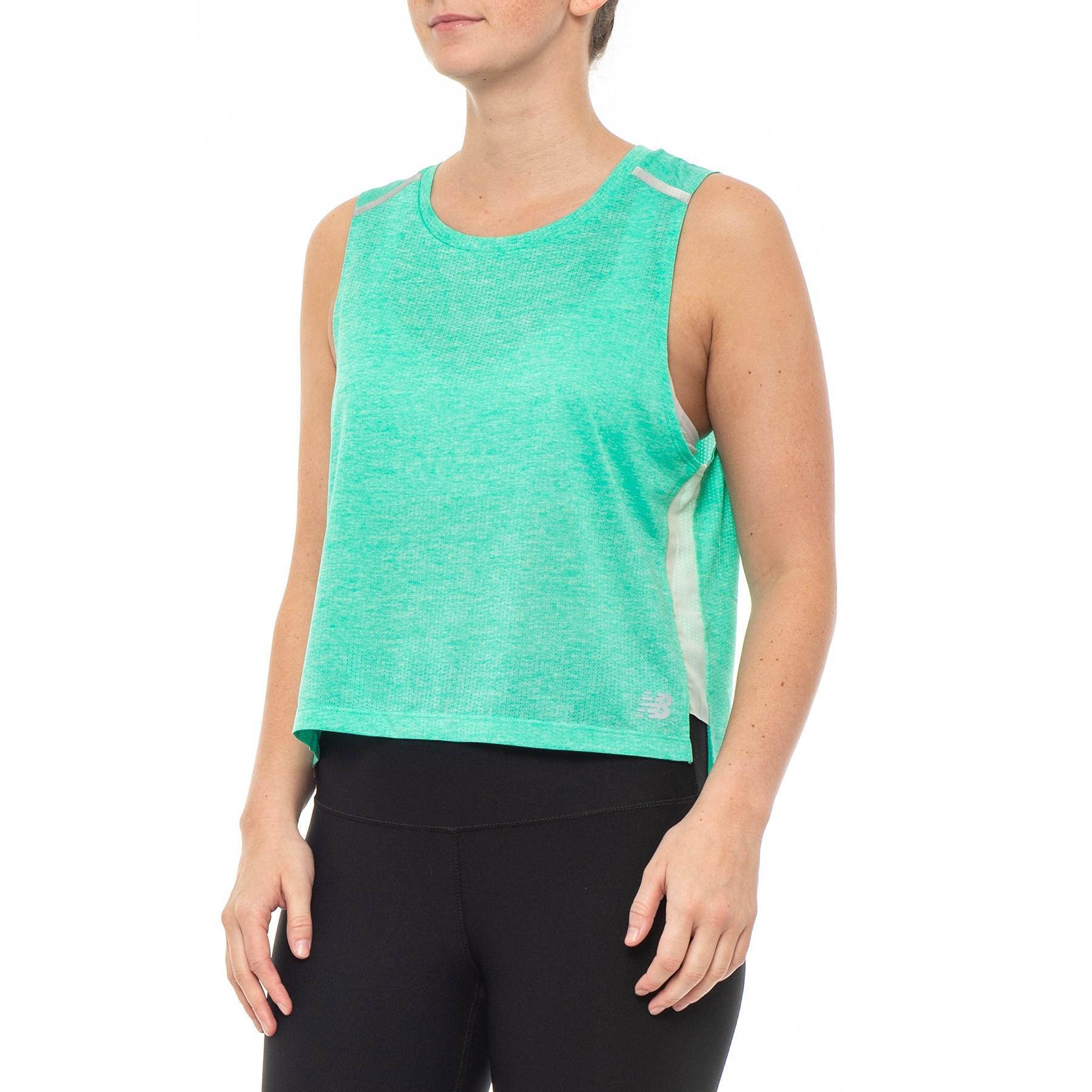 efdee18a841e4 Lyst - New Balance Nb Ice Crop Tank Top (for Women) in Green
