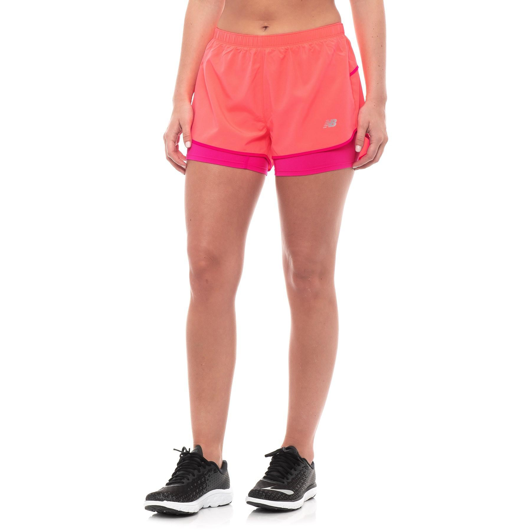 4cf35f2386863 Lyst - New Balance 2-in-1 Woven Shorts (for Women) in Pink