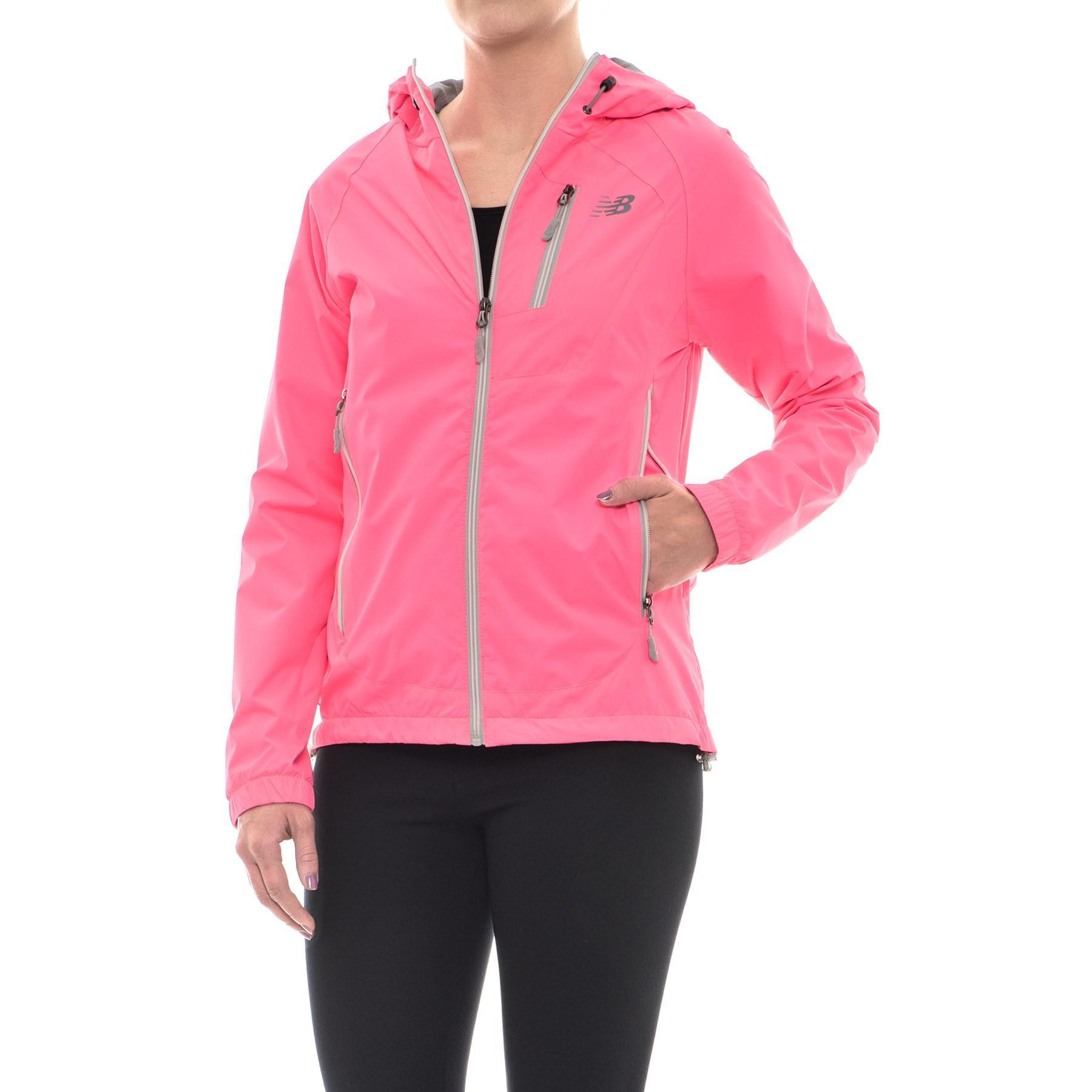 3efeb7c8 New Balance Pink Hooded Dobby Neck Jacket (for Women)