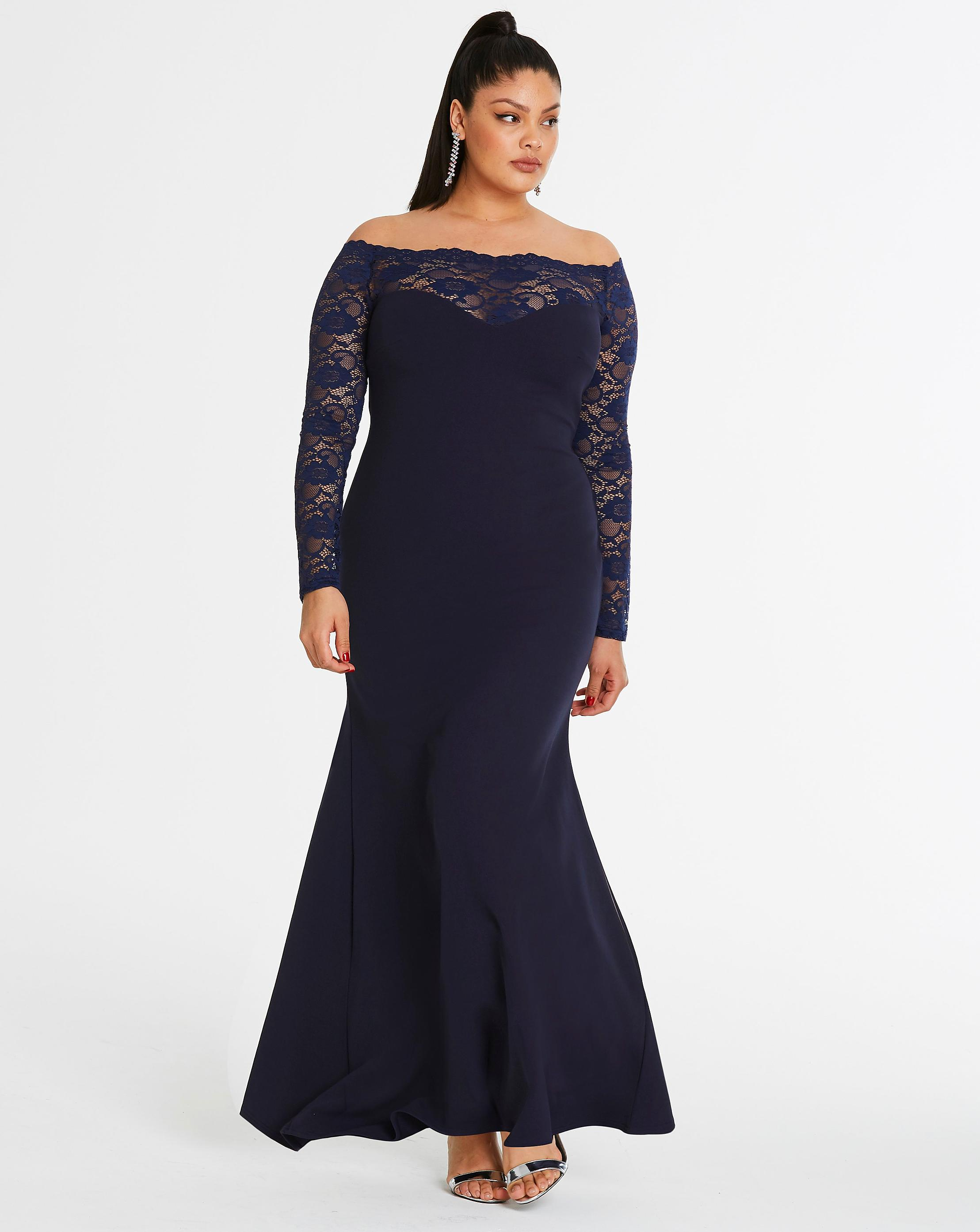 8c7738e663a Simply Be. Women s Blue By Night Sweetheart Lace Off-the-shoulder Maxi Dress