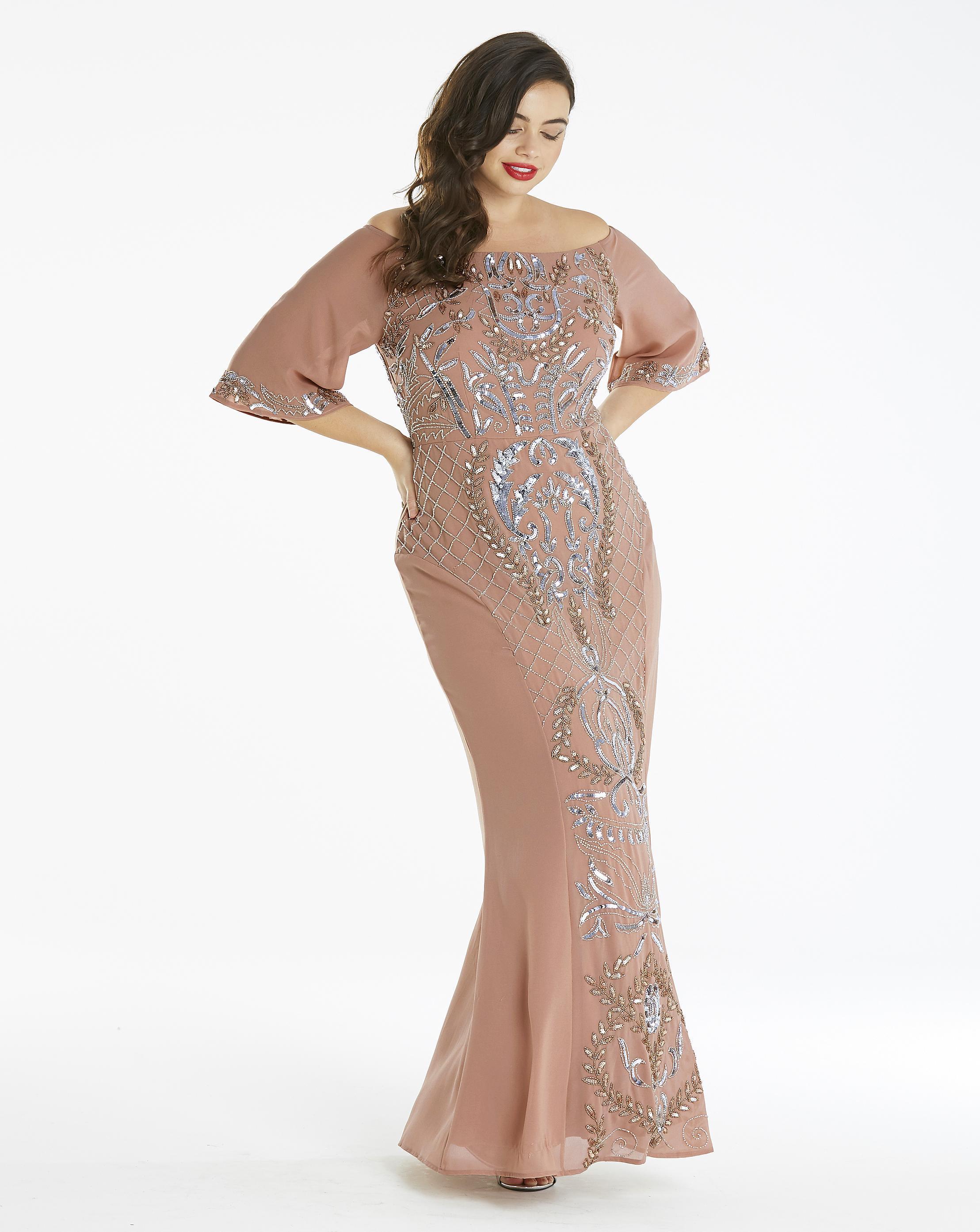 efee5968 Simply Be Maya Curve Embellished Bardot Maxi Dress - Lyst