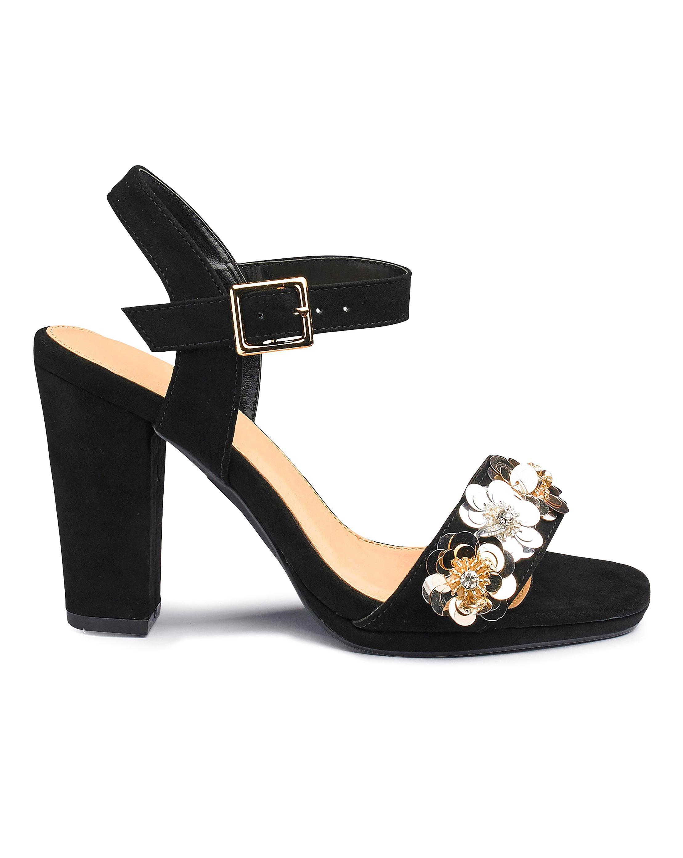 01d491d74 Lyst - Simply Be Sole Diva Flower Trim Heels in Black