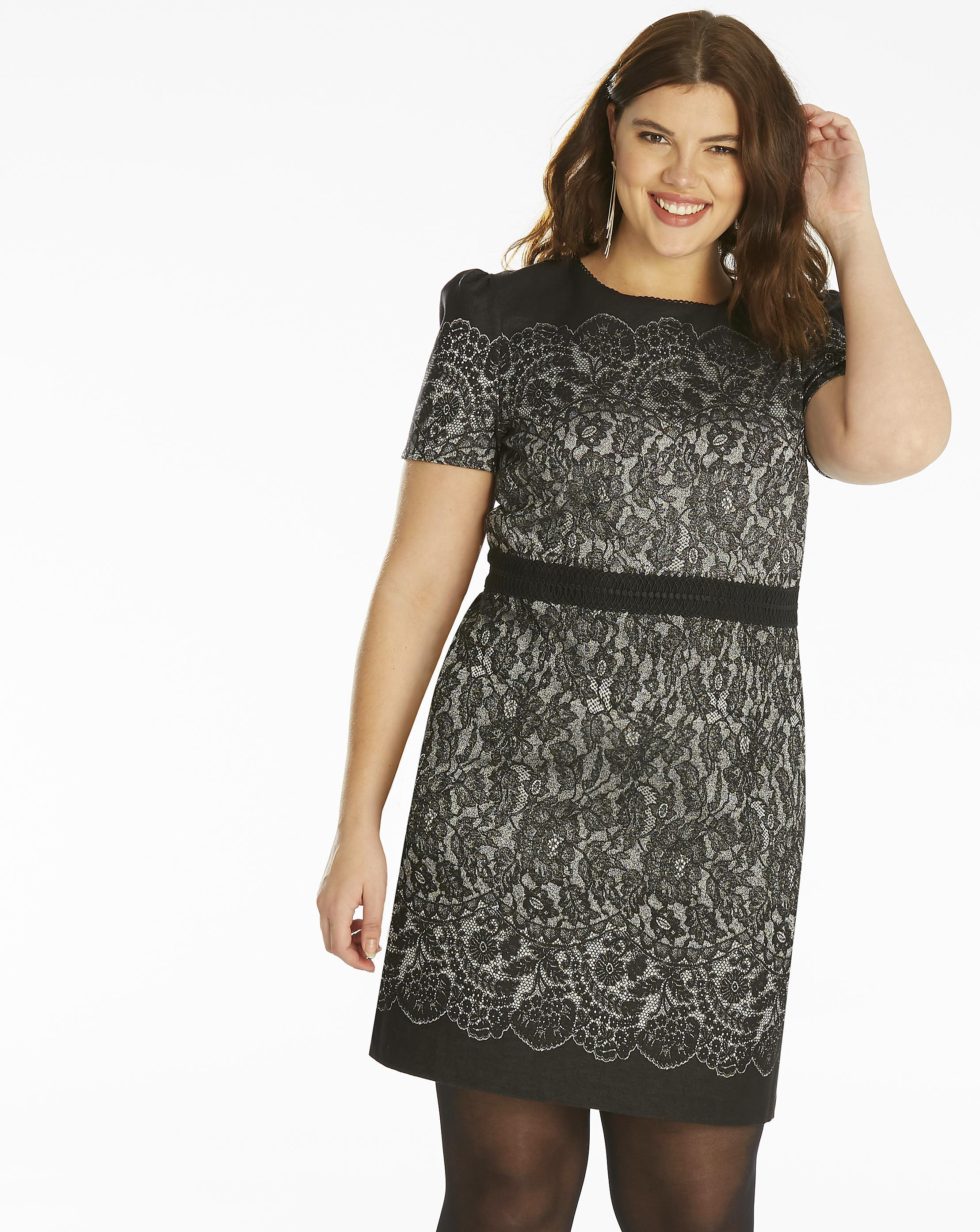 1d9e3d89fef9 Lyst - Simply Be Oasis Lace Jacquard Shift Dress in Black