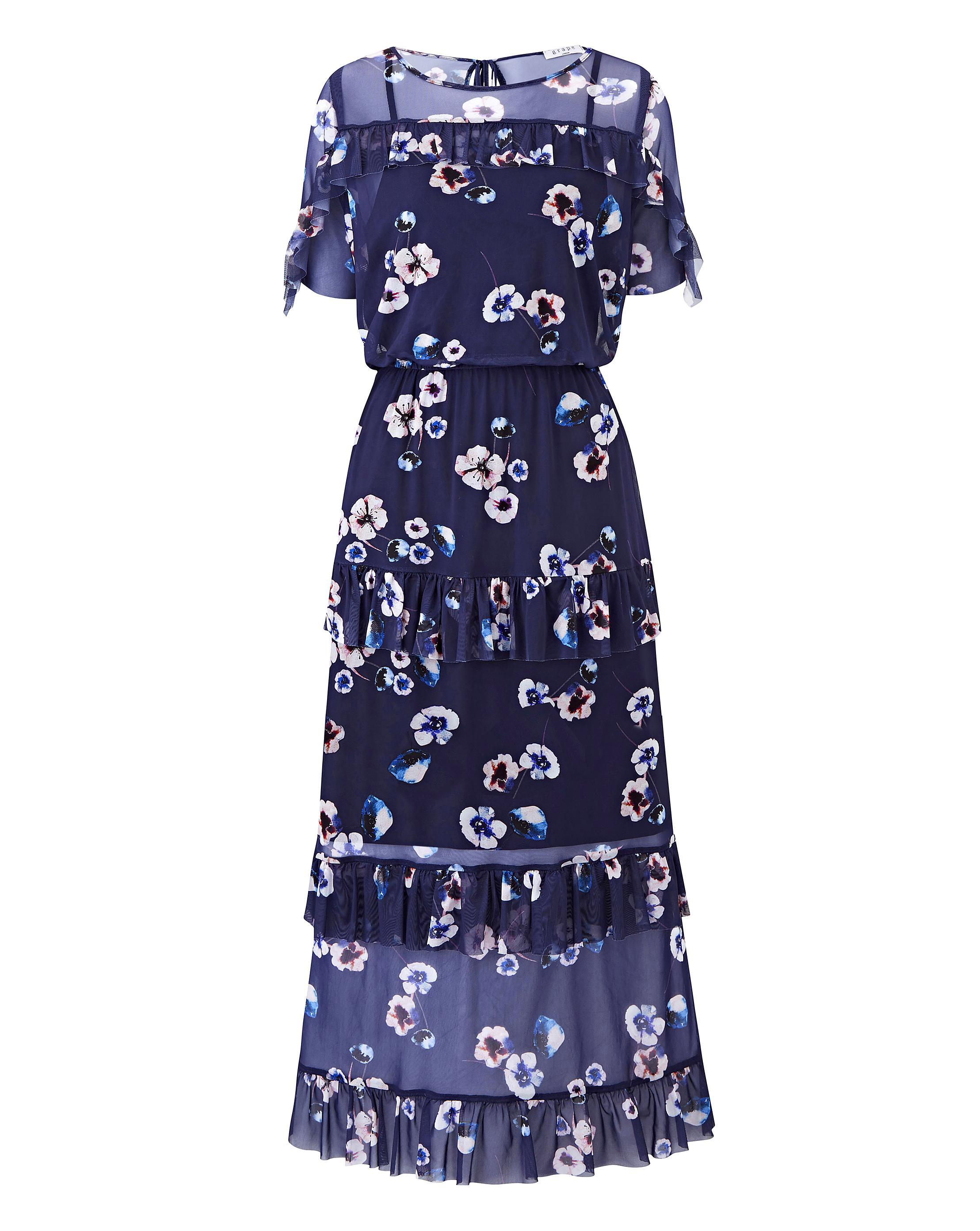 5fc6932b2fd Lyst - Simply Be Mesh Frill Maxi Dress in Blue