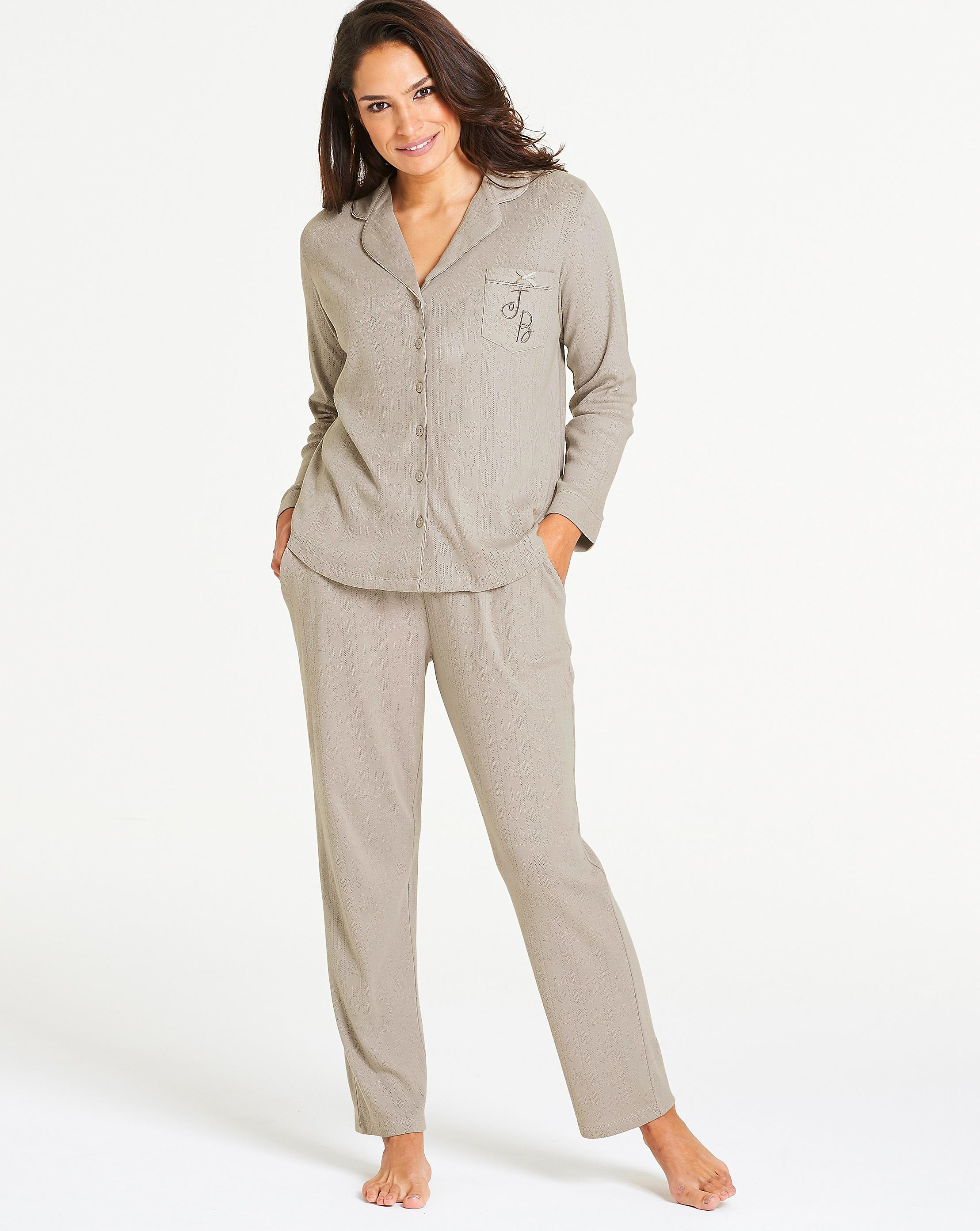 Lyst - Simply Be Joe Browns Pointelle Button Down Pj Set in Gray e76aaabf1