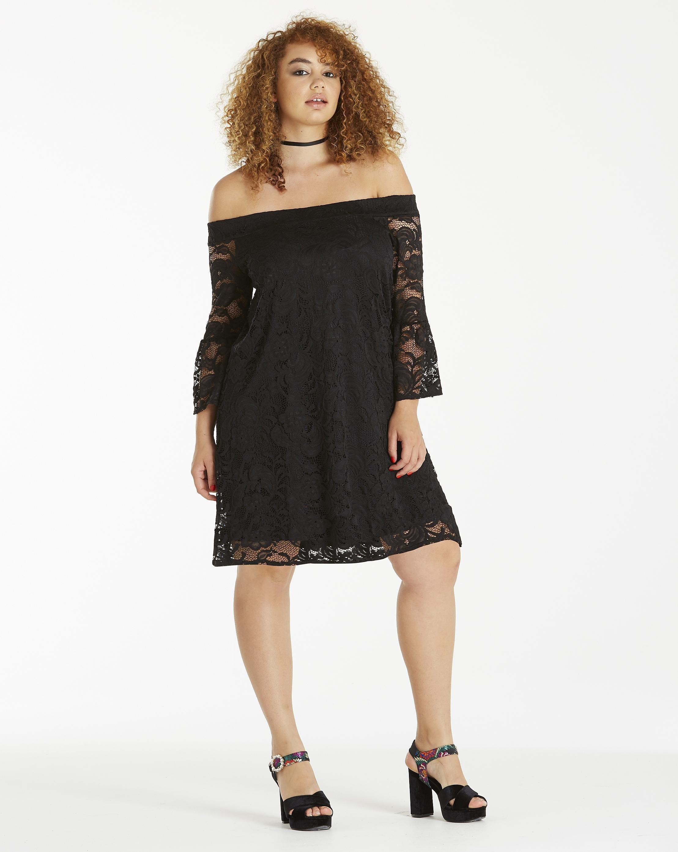0941902795b Lyst - Simply Be Lace Bardot Dress in Black