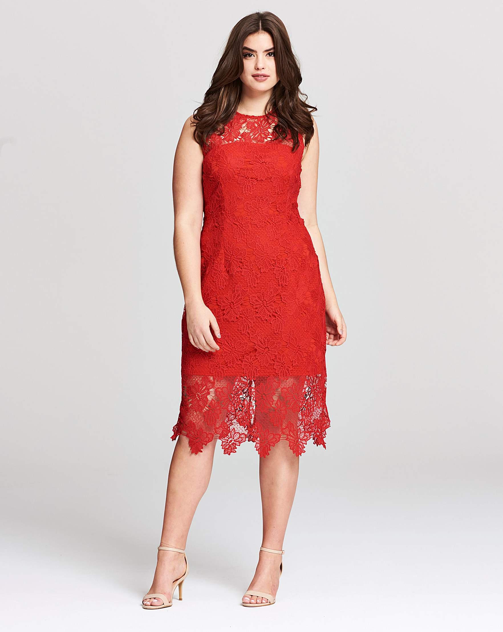 ae2aa1fb04 Ax Paris Stretch Lace Midi Dress in Red - Lyst