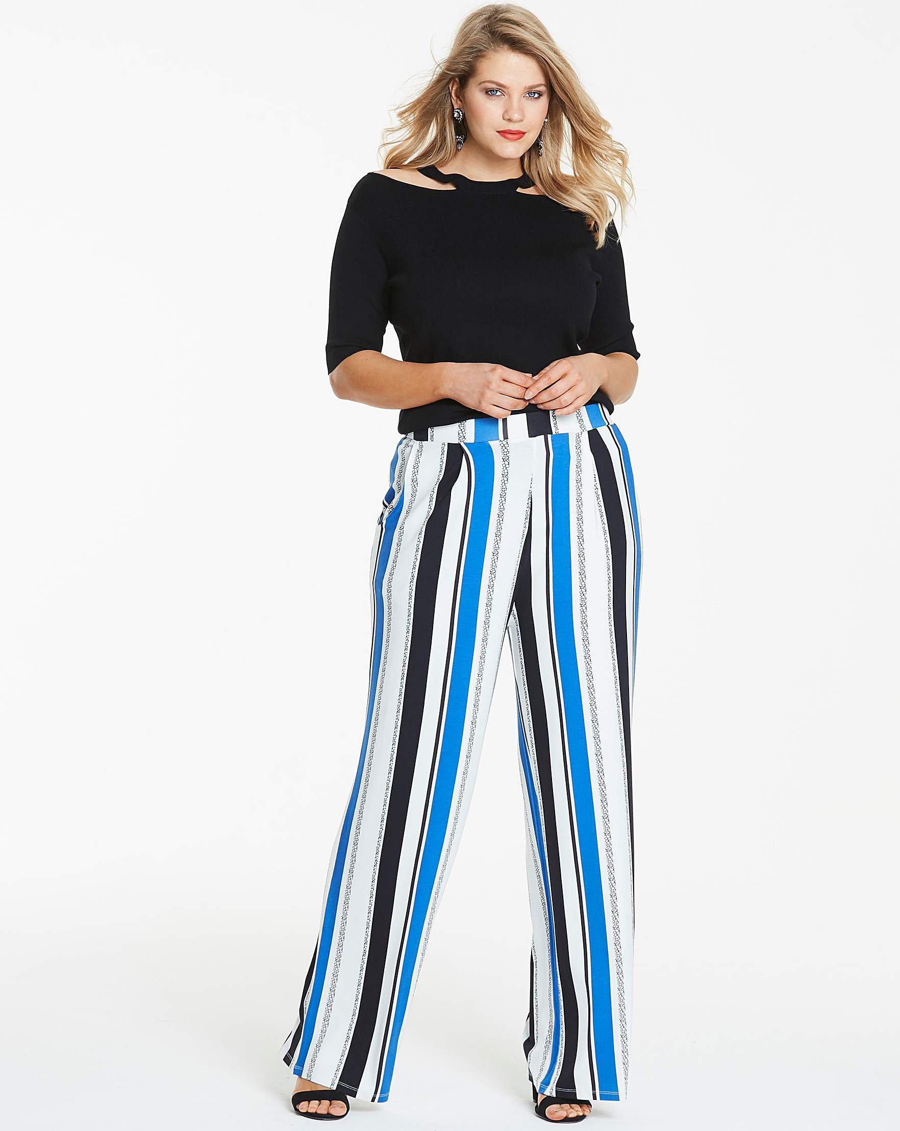93d13051e4 Simply Be Stripe Wide Leg Jersey Trousers Reg in Blue - Lyst