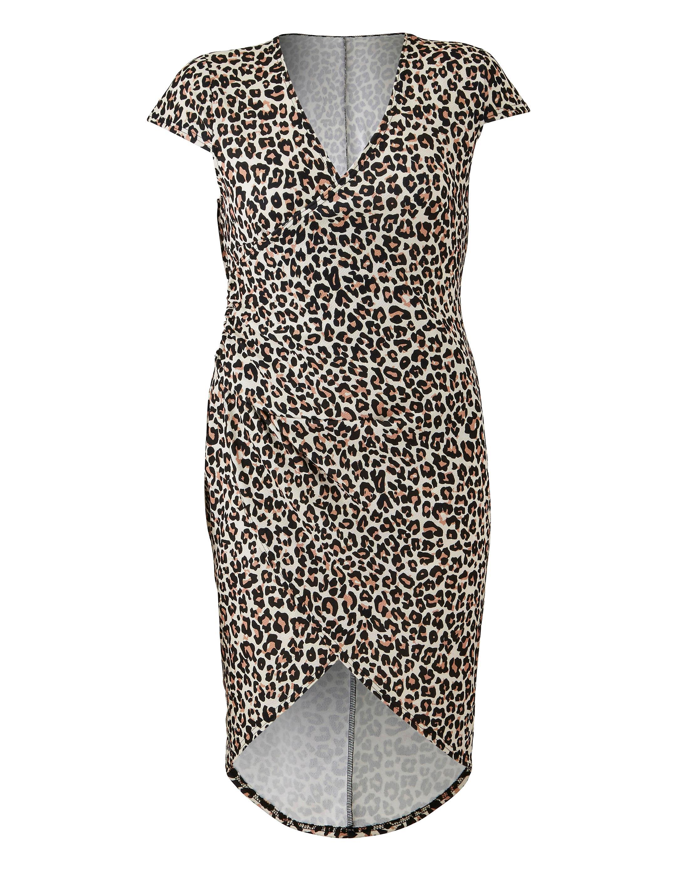 Lyst Simply Be By Night Leopard Printed Dip Back Wrap Dress