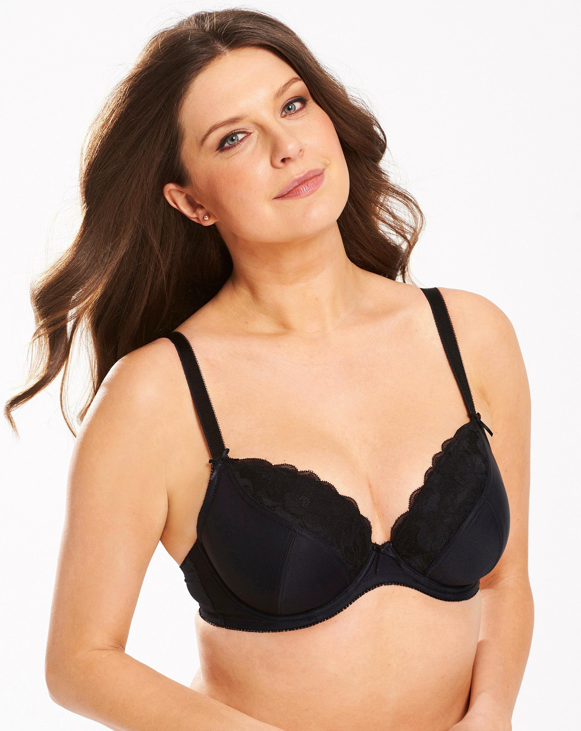 8ba0abfe46306 Lyst - Simply Be Pretty Secrets Ivy Lace Plunge Bra in Black