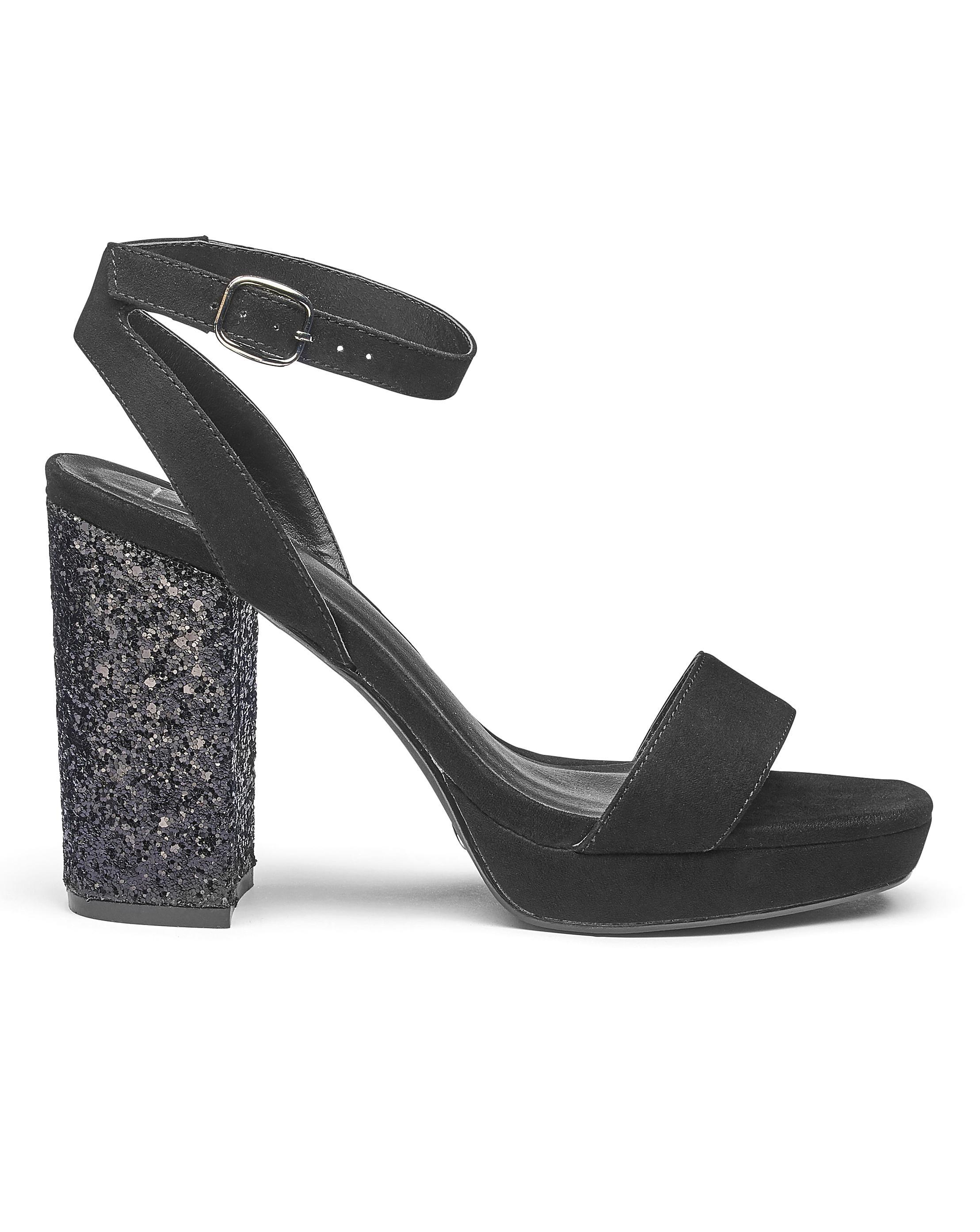 a985230c06b1 Simply Be. Women s Black Sole Diva Ally Glitter Platforms Extra Wide Eee Fit