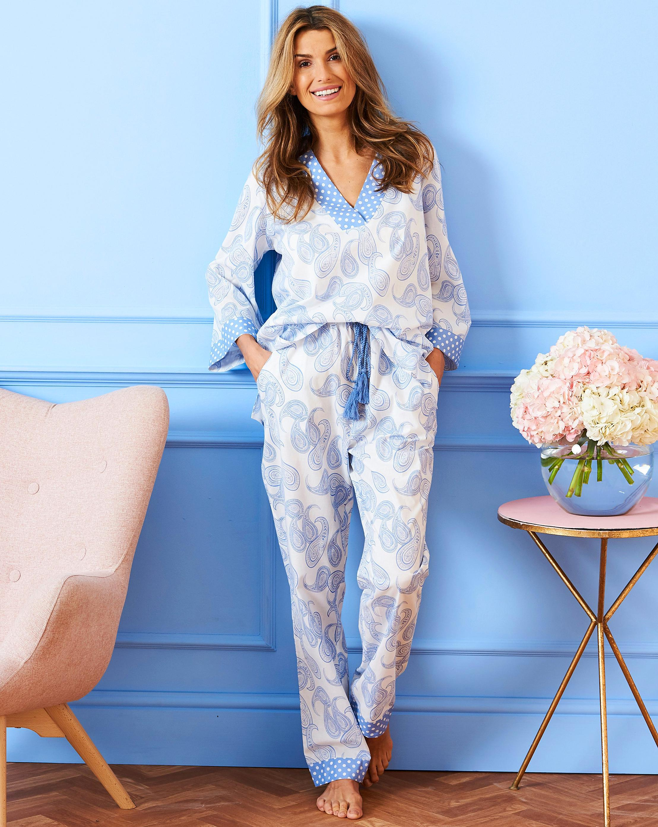 6eb3e1ff427a Lyst - Simply Be Pretty Secrets Cotton Pajama Set in Blue