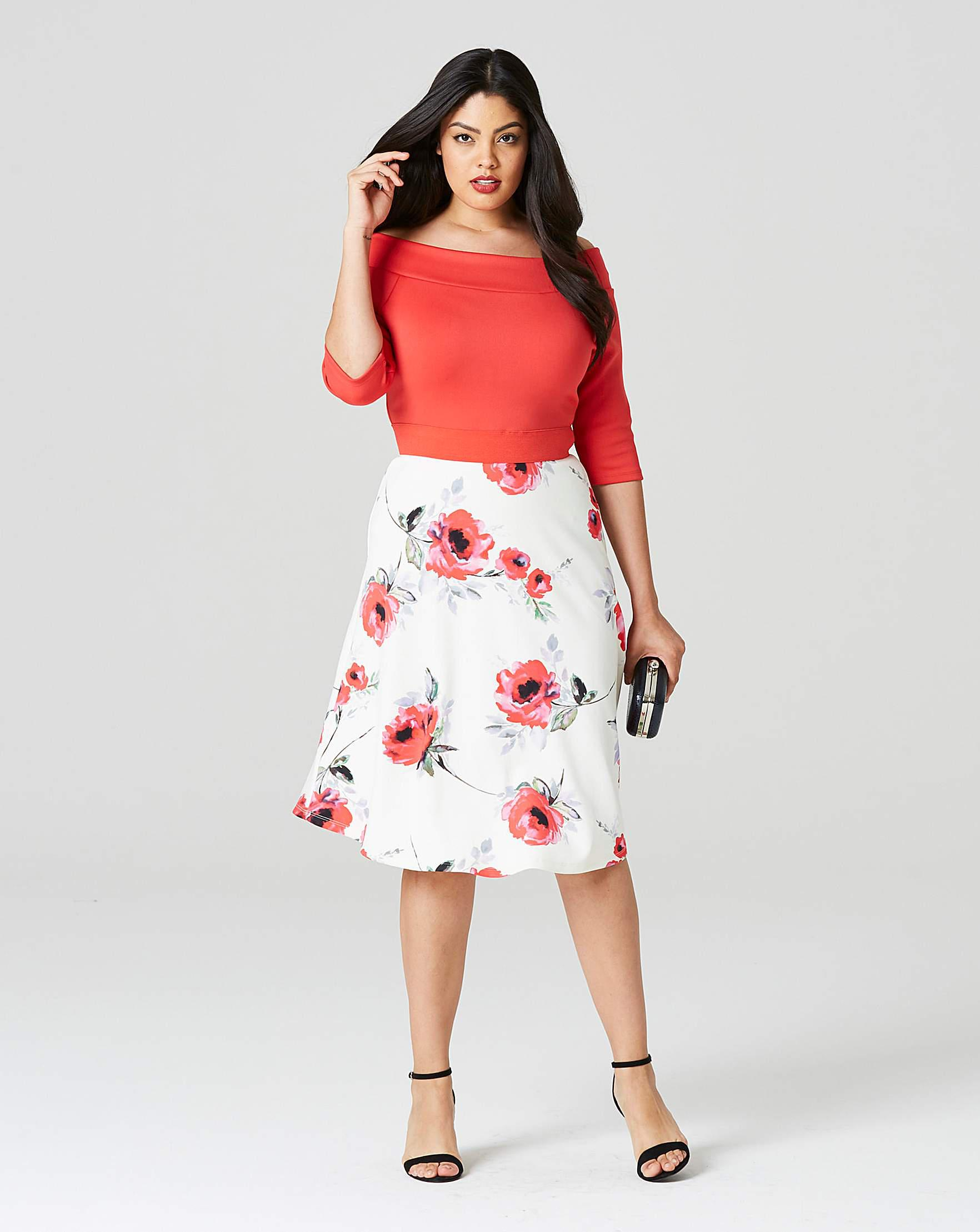 Simply Be Red Floral Print Prom Dress in Red - Lyst