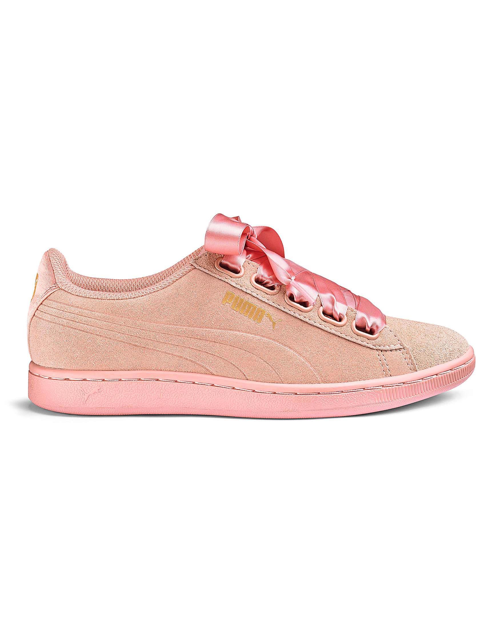 659fe023d5 PUMA Pink Satin Vikky Ribbon Trainers