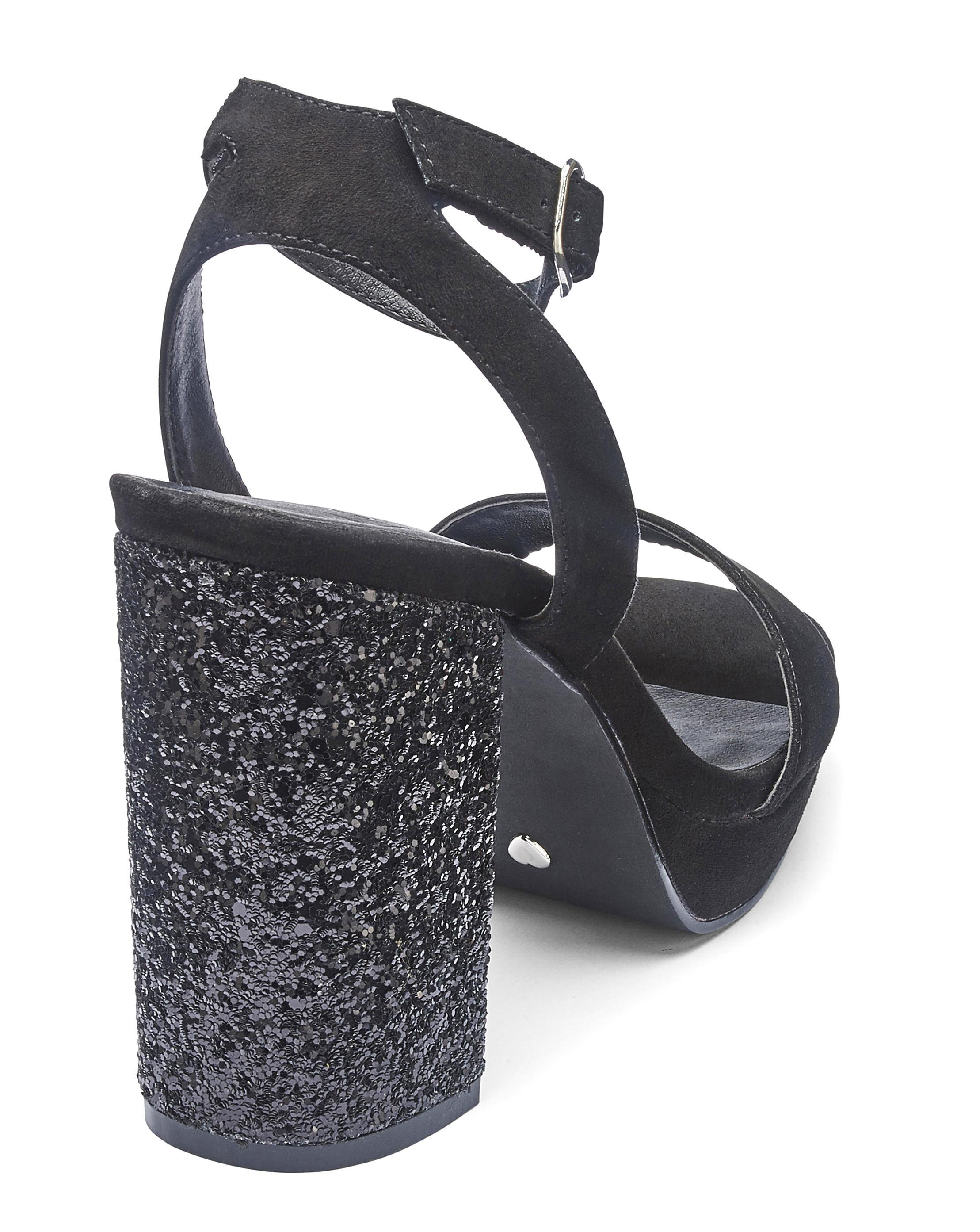 df502354446d Lyst - Simply Be Sole Diva Ally Glitter Platforms Extra Wide Eee Fit in  Black