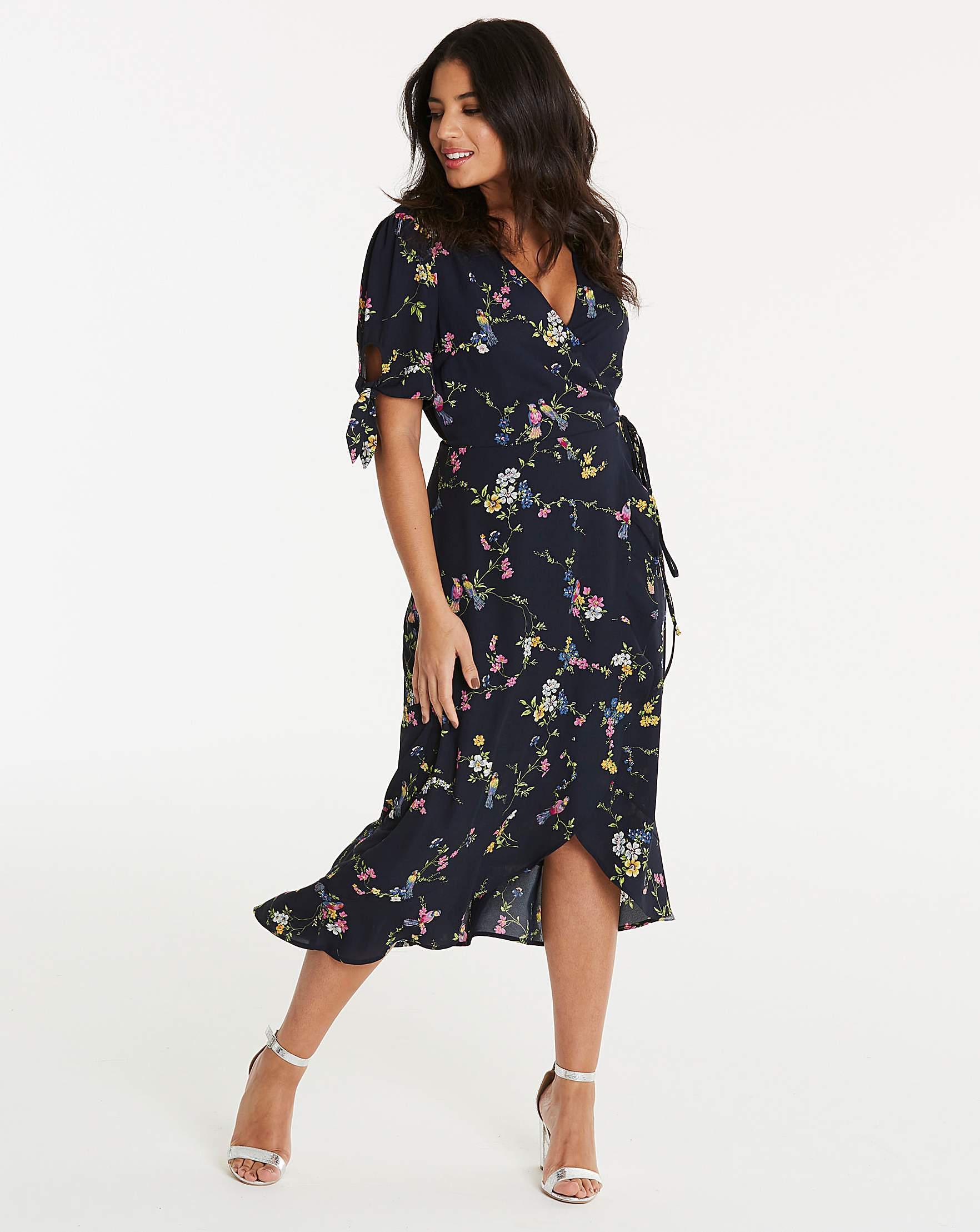 ce912432518e Oasis Bouquet Bird Wrap Midi Dress in Blue - Lyst