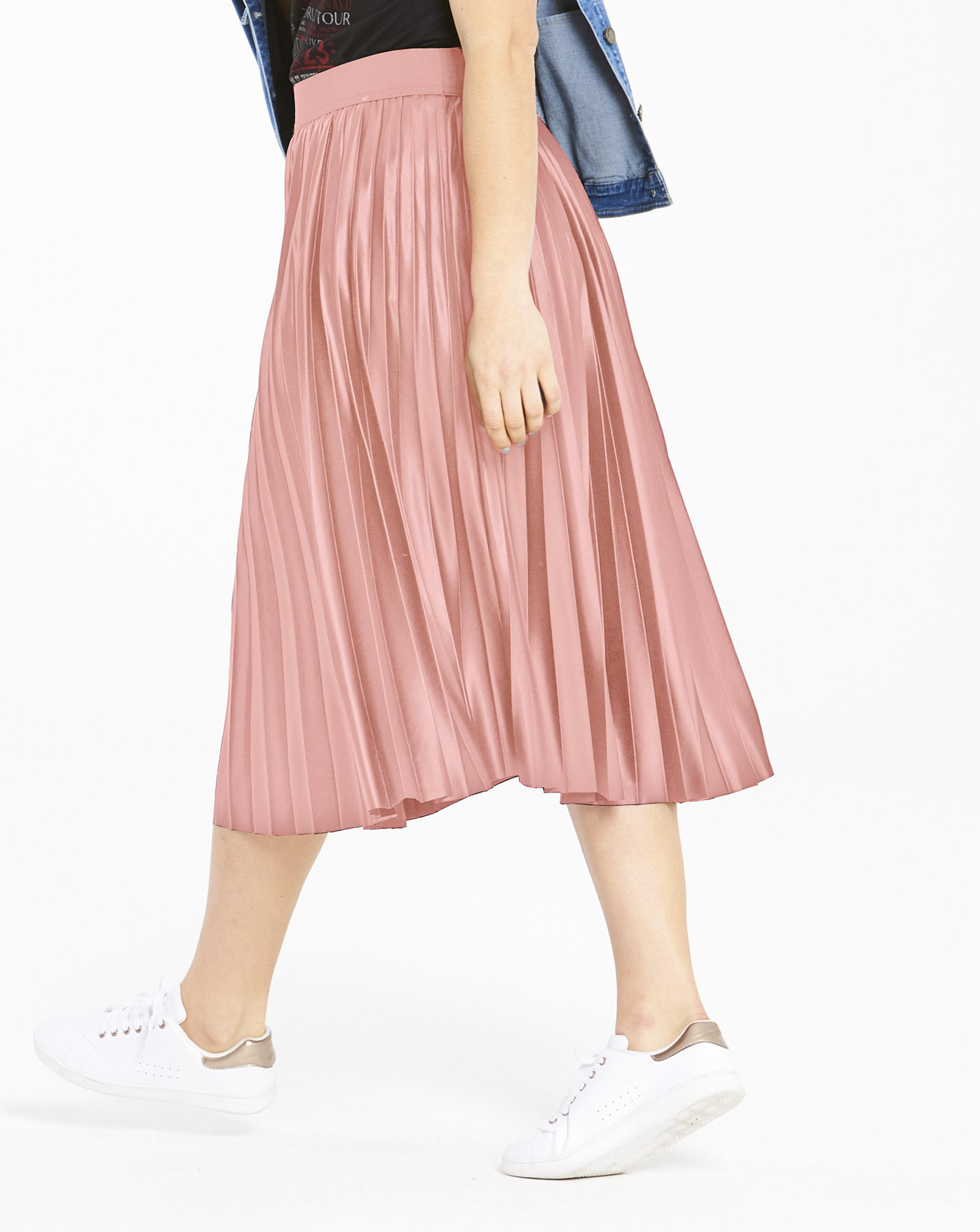 65e9c4d4b3e Lyst - Simply Be Wet Look Sunray Pleat Midi Skirt in Pink