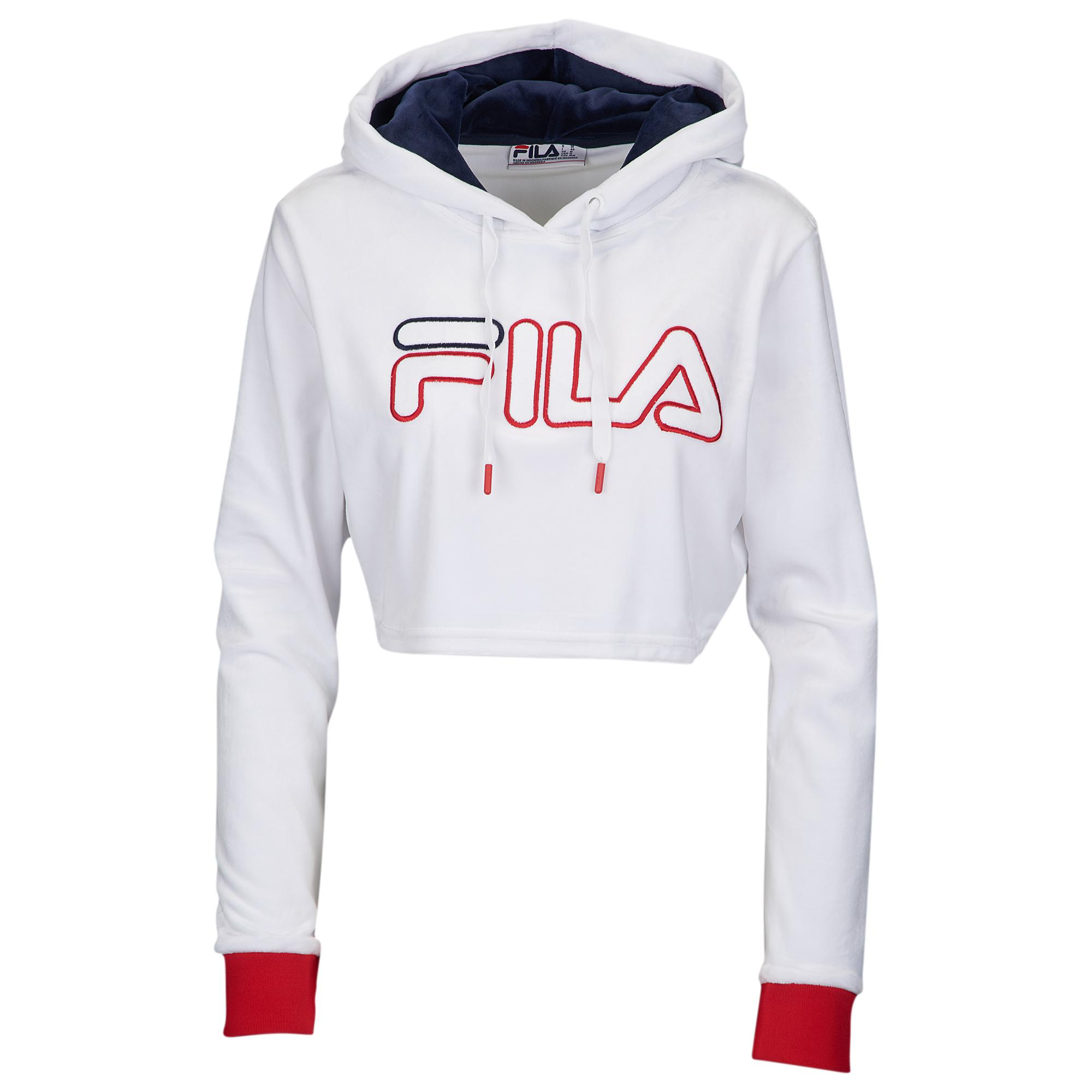 aaca6e17c6b Fila - White Velour Crop Hoodie - Lyst. View fullscreen
