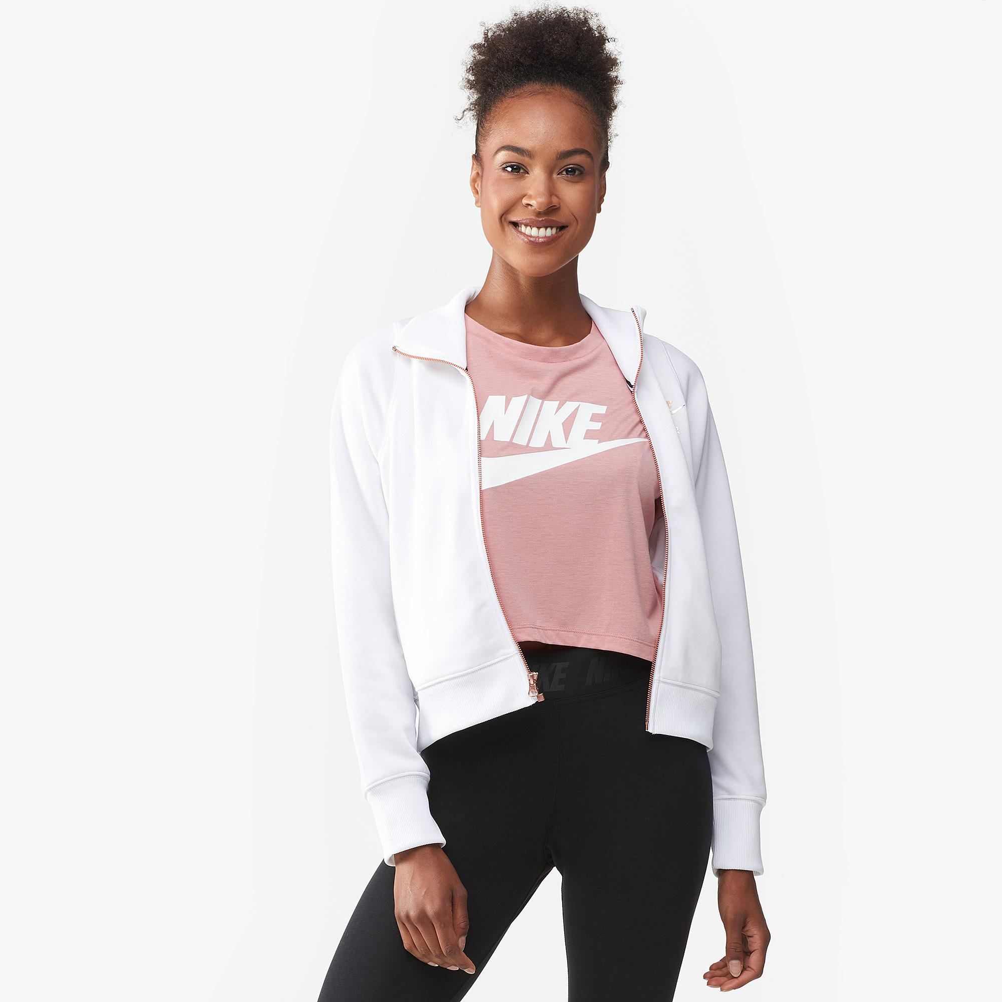 dc85384a7c69 Lyst - Nike Rose Gold Metallic Air Track Jacket in White