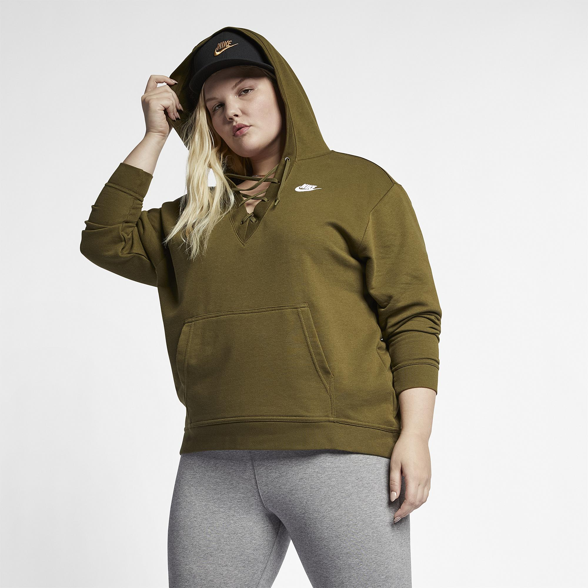 14070fef6c6 Lyst - Nike Rally Lace-up Hoodie Plus Size in Green