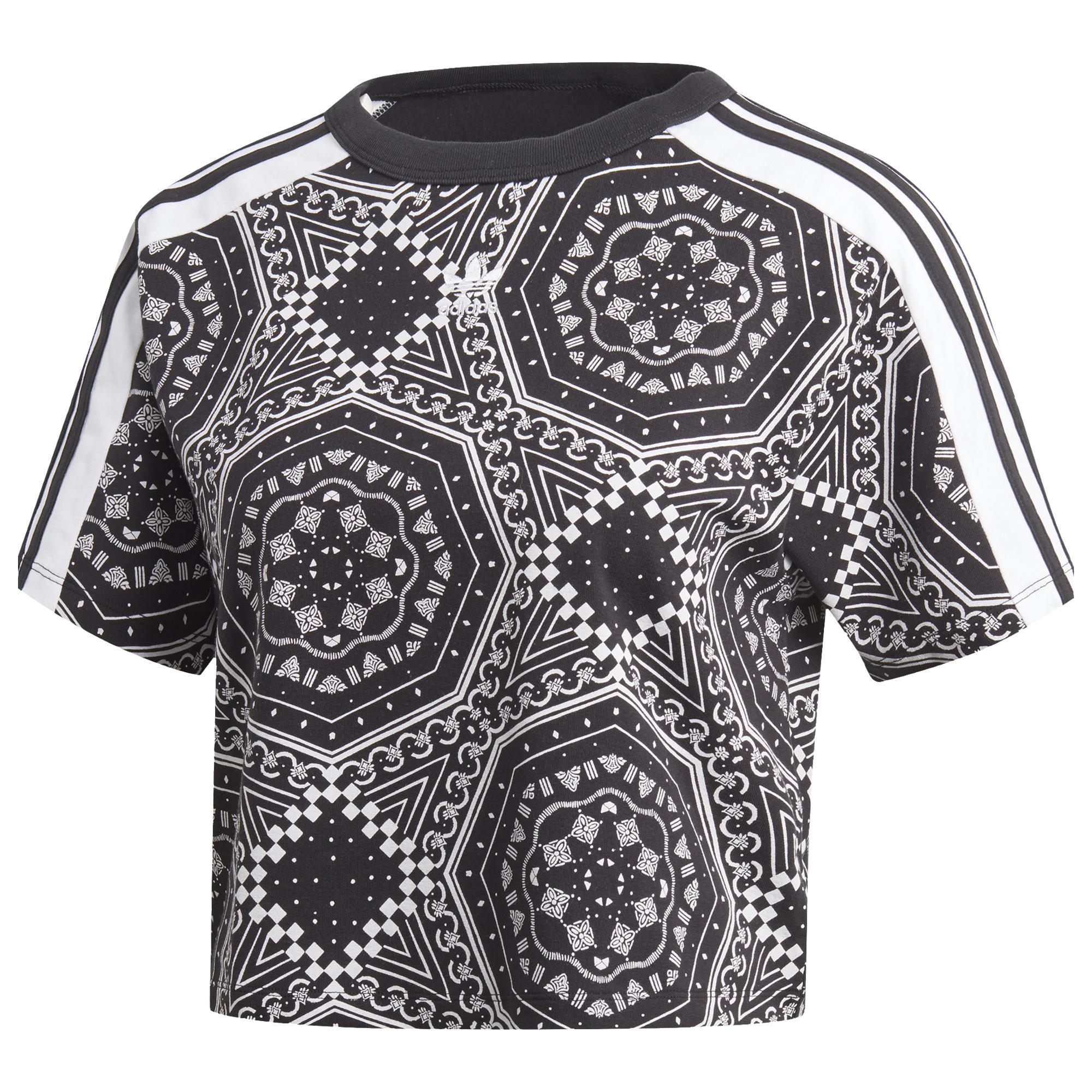 f0e15b16234330 Lyst - adidas Originals Strict clash Trefoil Crop T-shirt in Black