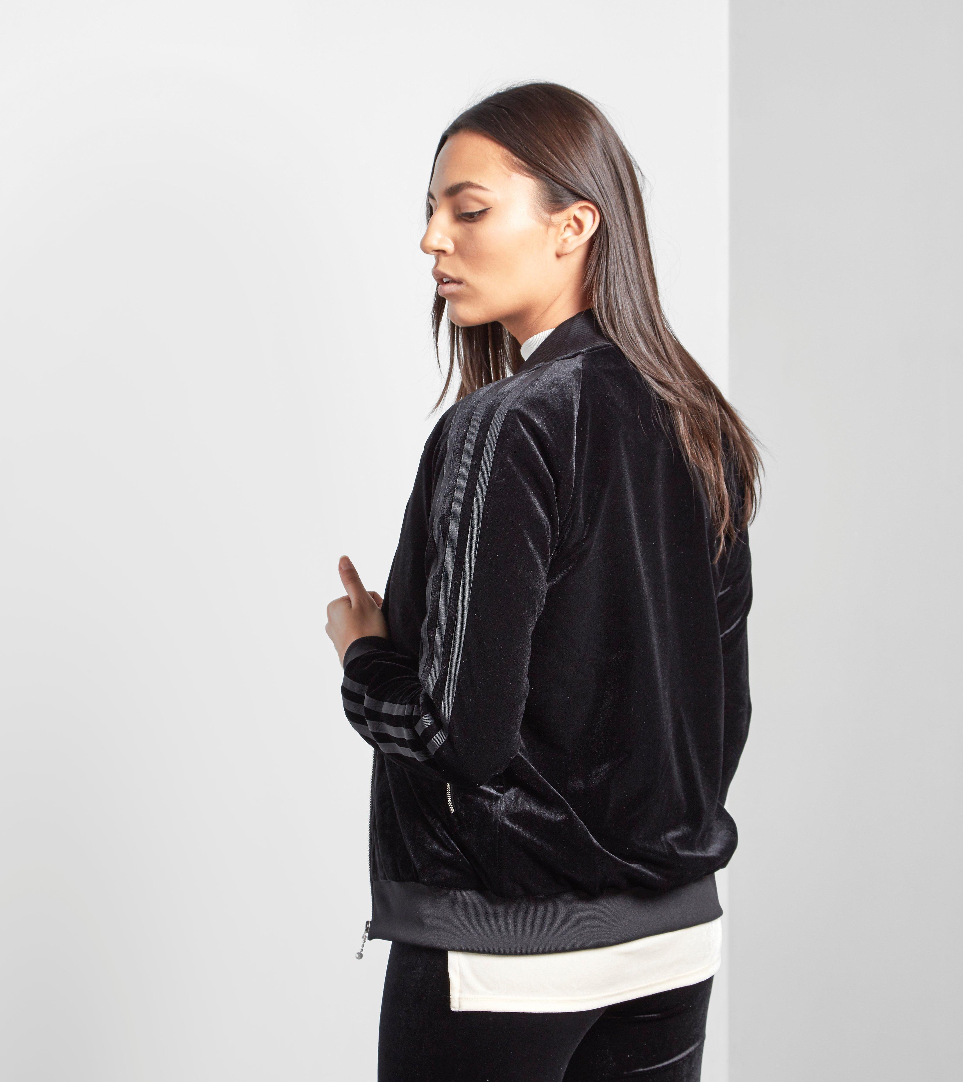 Adidas Originals 3 Stripe Velvet Bomber Jacket In Black Lyst