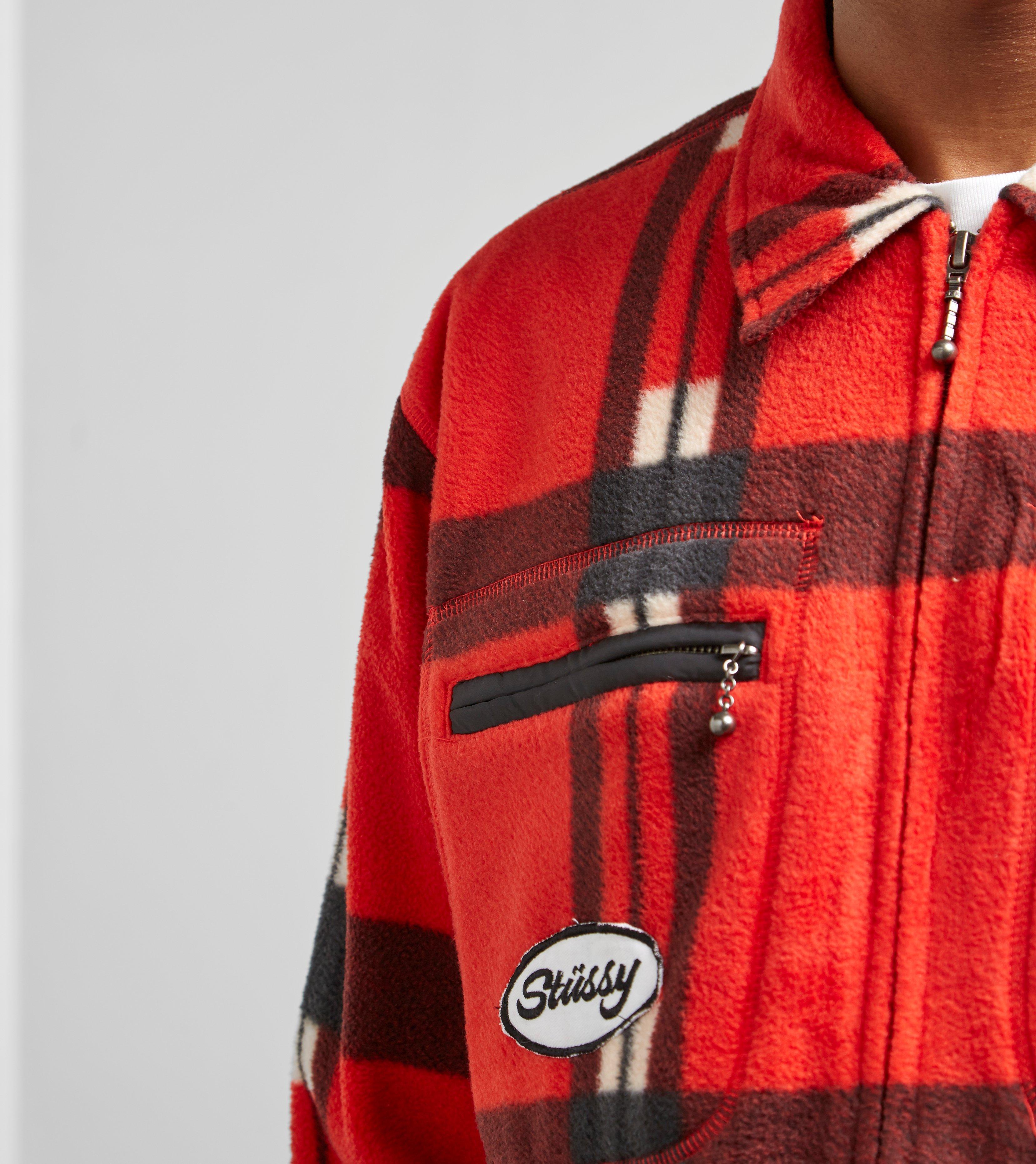 Stussy Polar Fleece Zip Up Shirt Red For Men Lyst