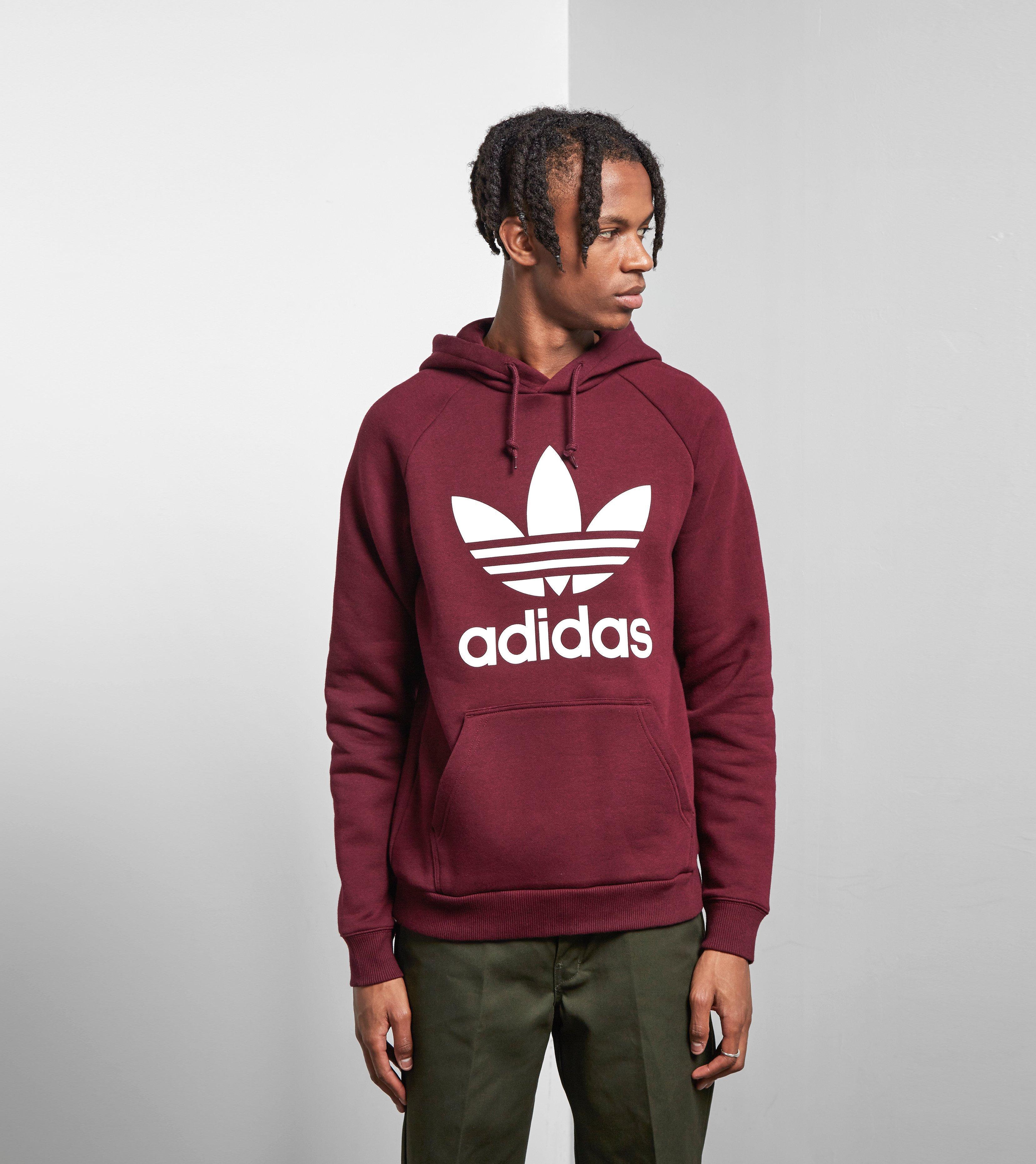Lyst - Adidas Originals Trefoil Hoody in Red for Men b513a434f75