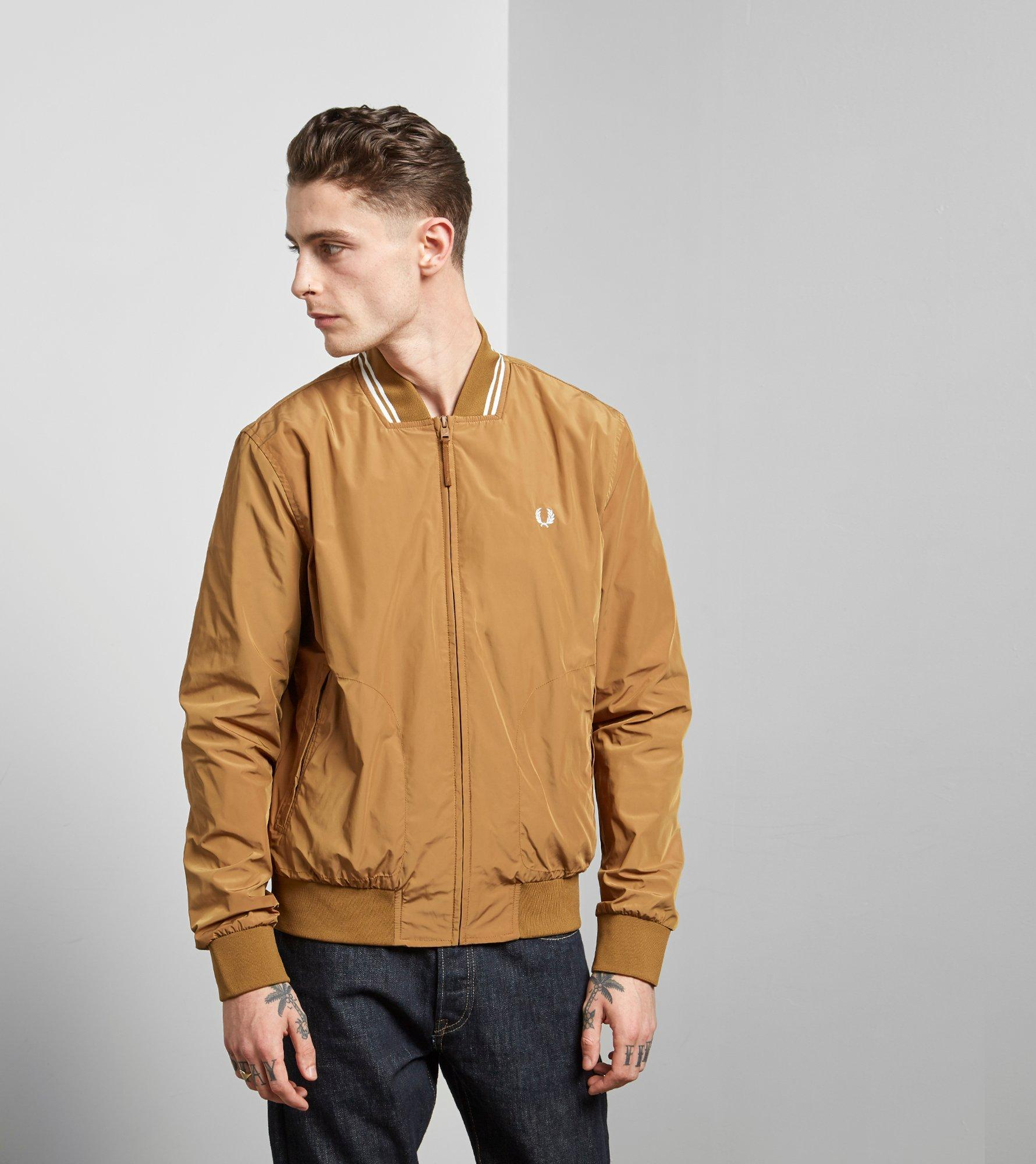 42a8cb743 Fred Perry Tipped Bomber Jacket in Brown for Men - Lyst