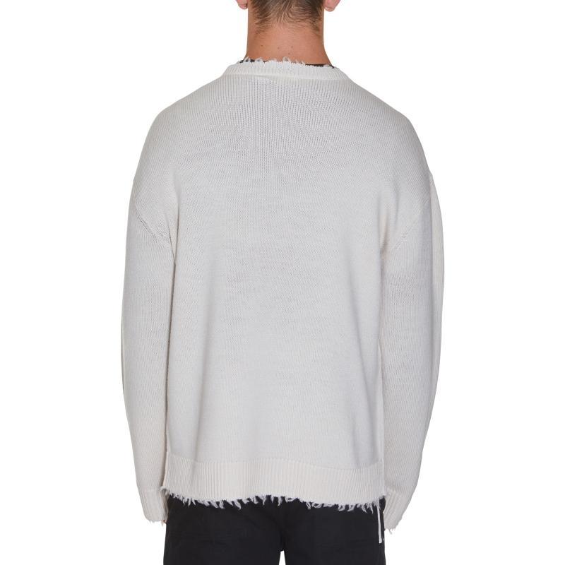 Helmut Lang Linen Distressed Drop Needle Crewneck T-shirt in Grey for Men
