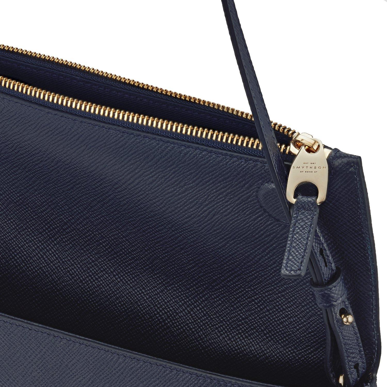 Smythson Leather Panama Folded Crossbody Bag in Navy (Blue)