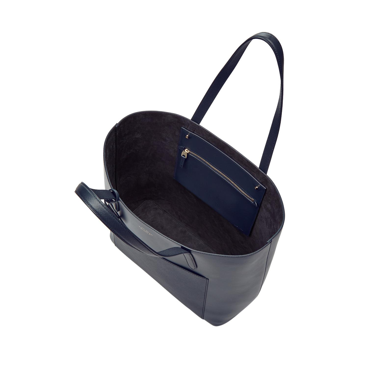 Smythson Leather North South Tote in Navy (Blue)