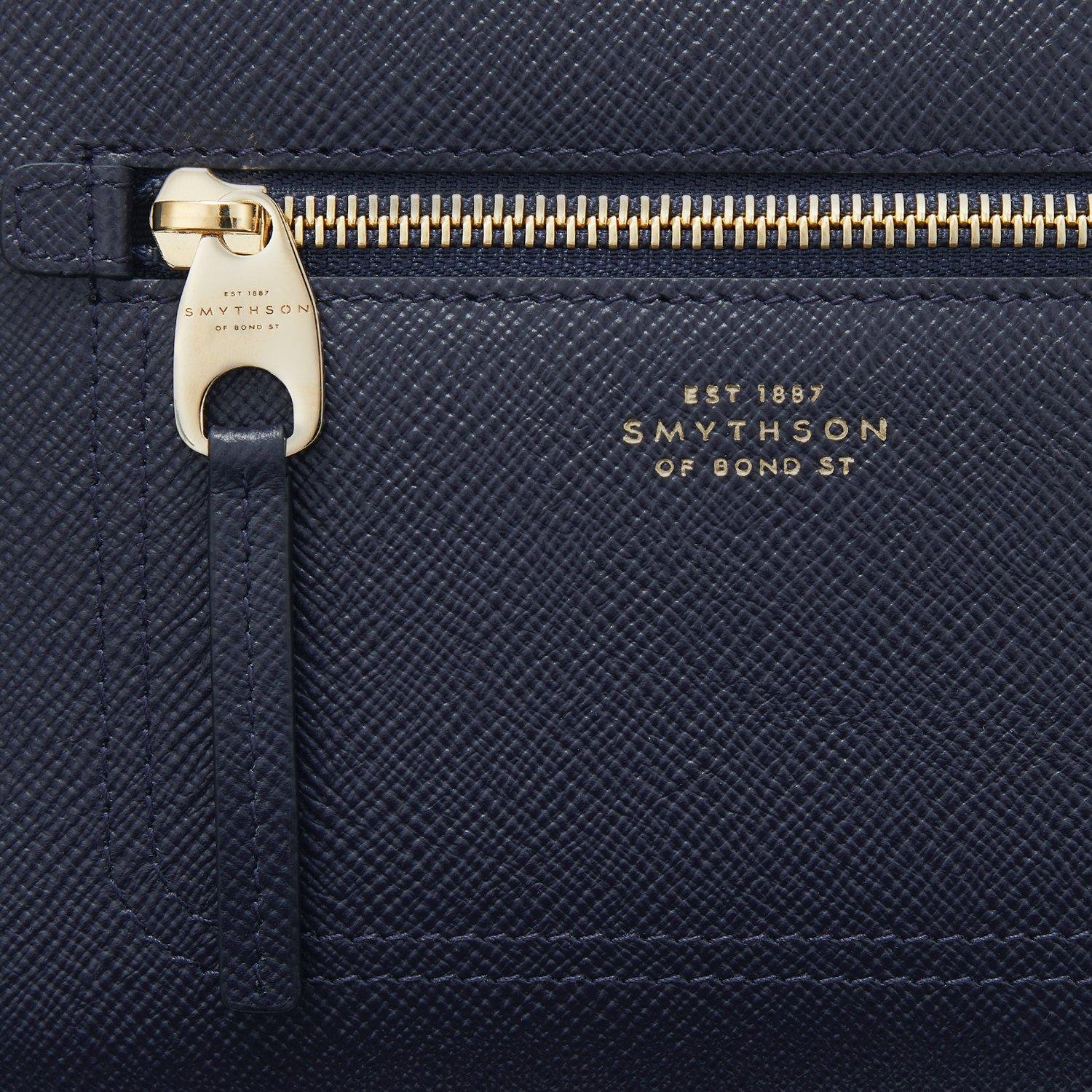 Smythson Panama Cross-grain Leather Cross-body Camera Bag in Navy (Blue)
