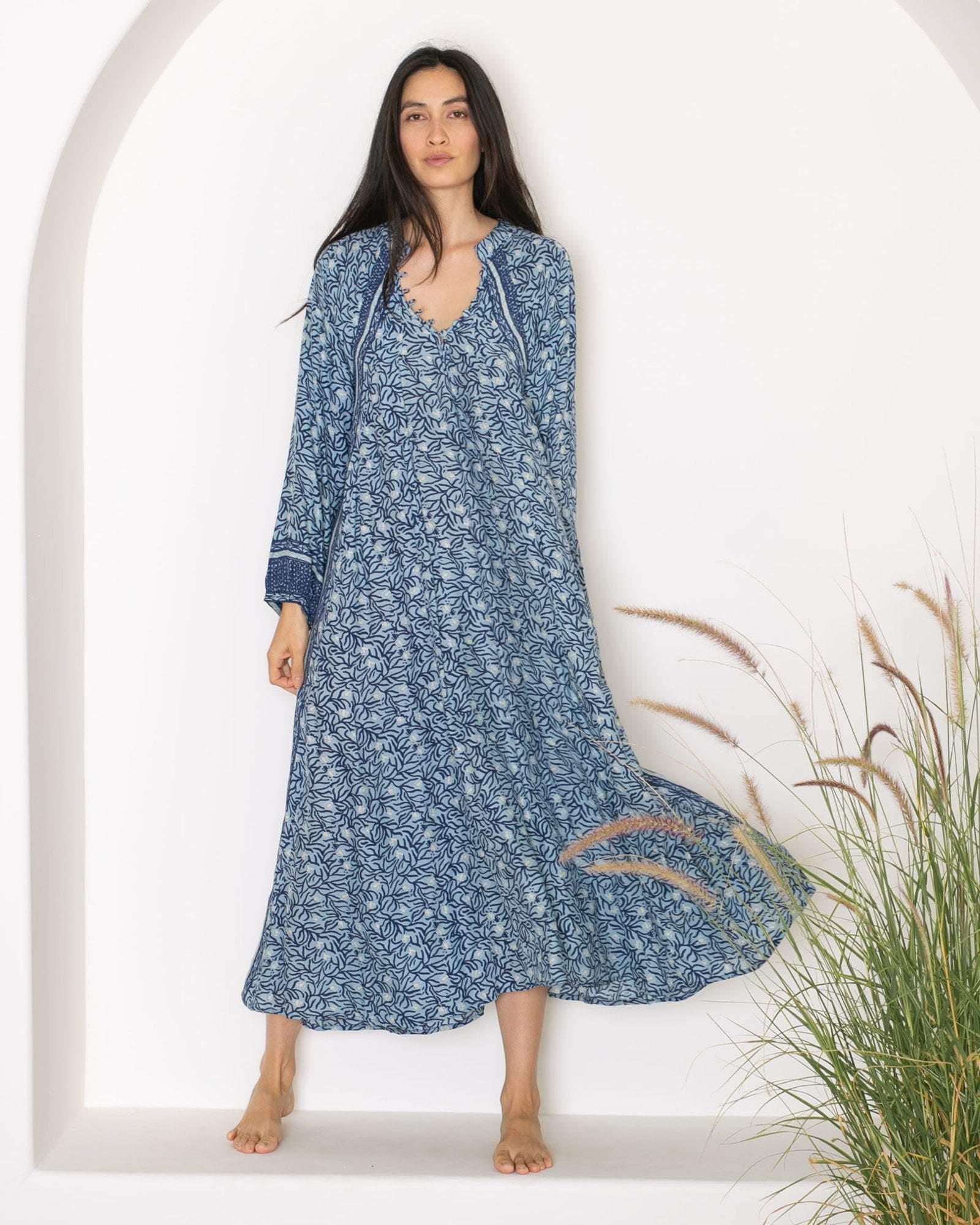 fd9f33c74e1 Lyst - Natalie Martin Fiore Maxi Dress In Blue Coral in Blue