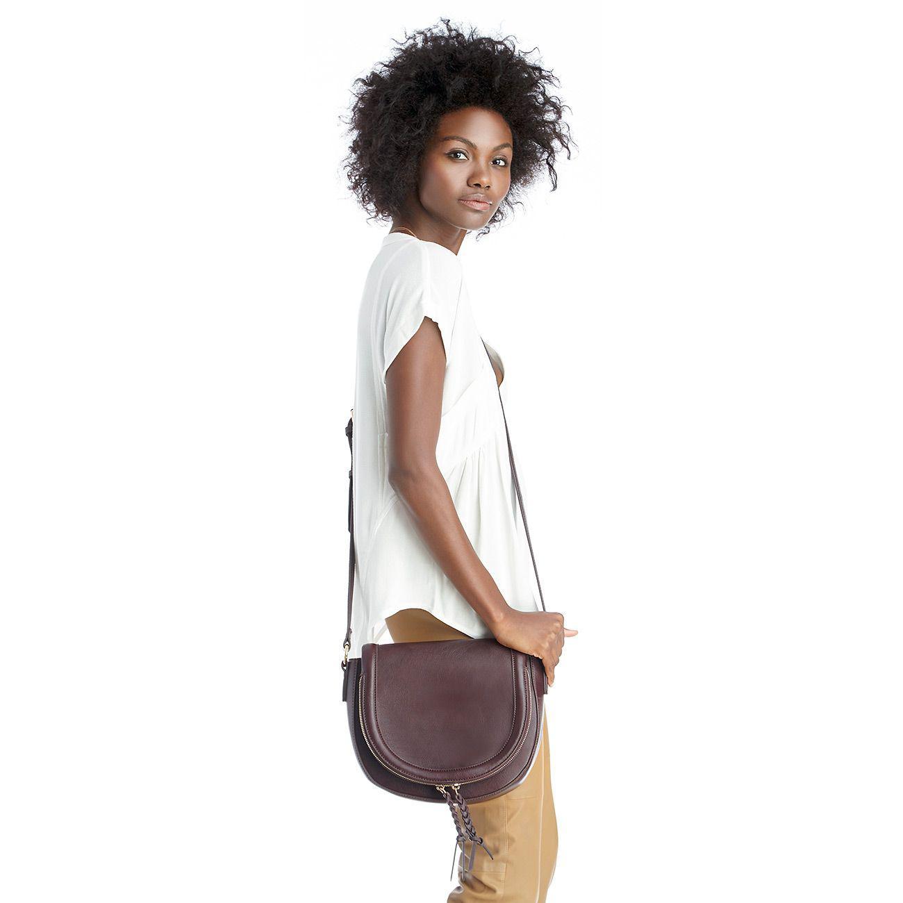 Lyst - Sole Society Thalia Vegan Leather Saddlebag With Braided ... 6638e3e964dc3