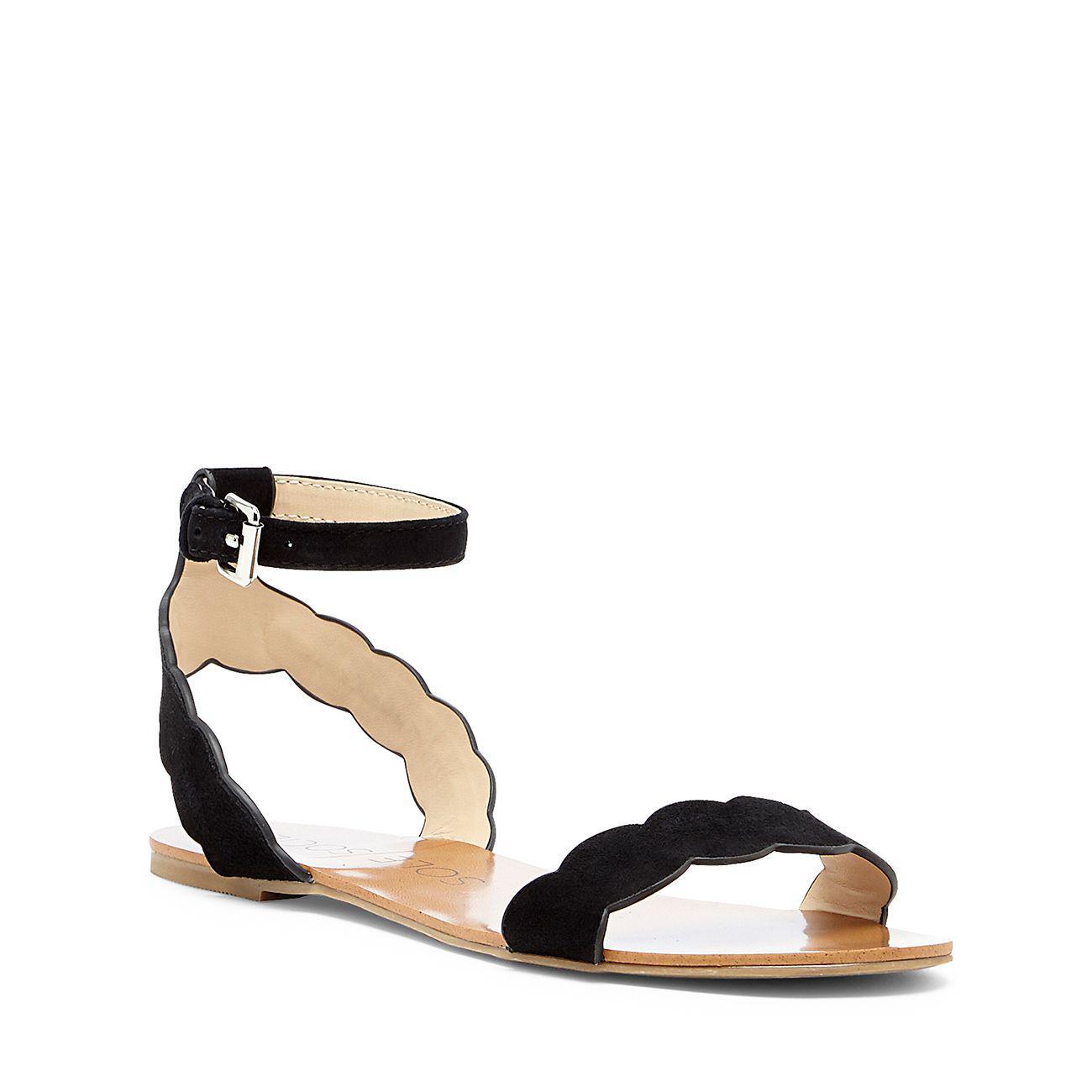 fe56445459a Lyst - Sole Society Odette Scalloped Flat Sandal in Black